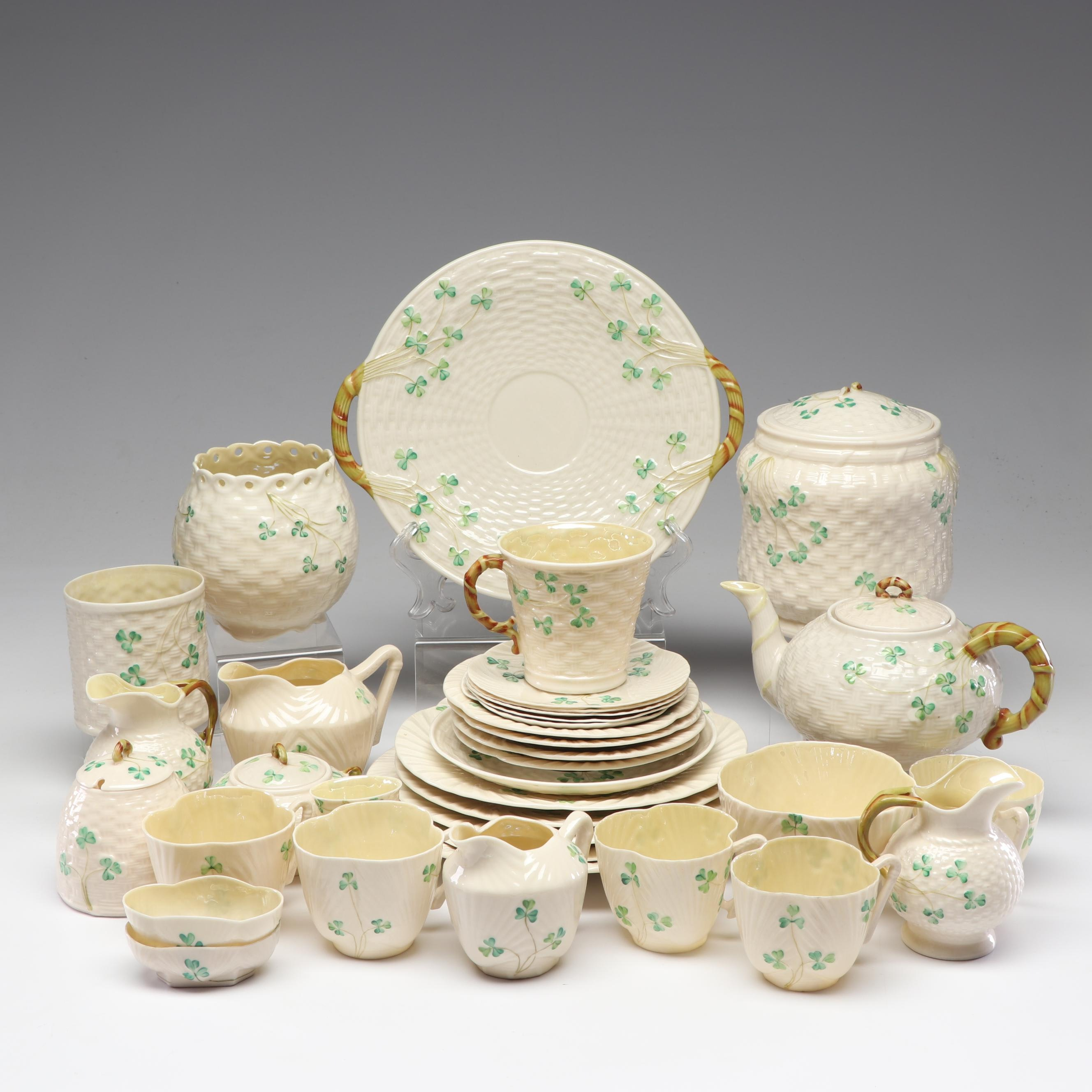 "Belleek ""Shamrock"" Tea Service and Tableware"