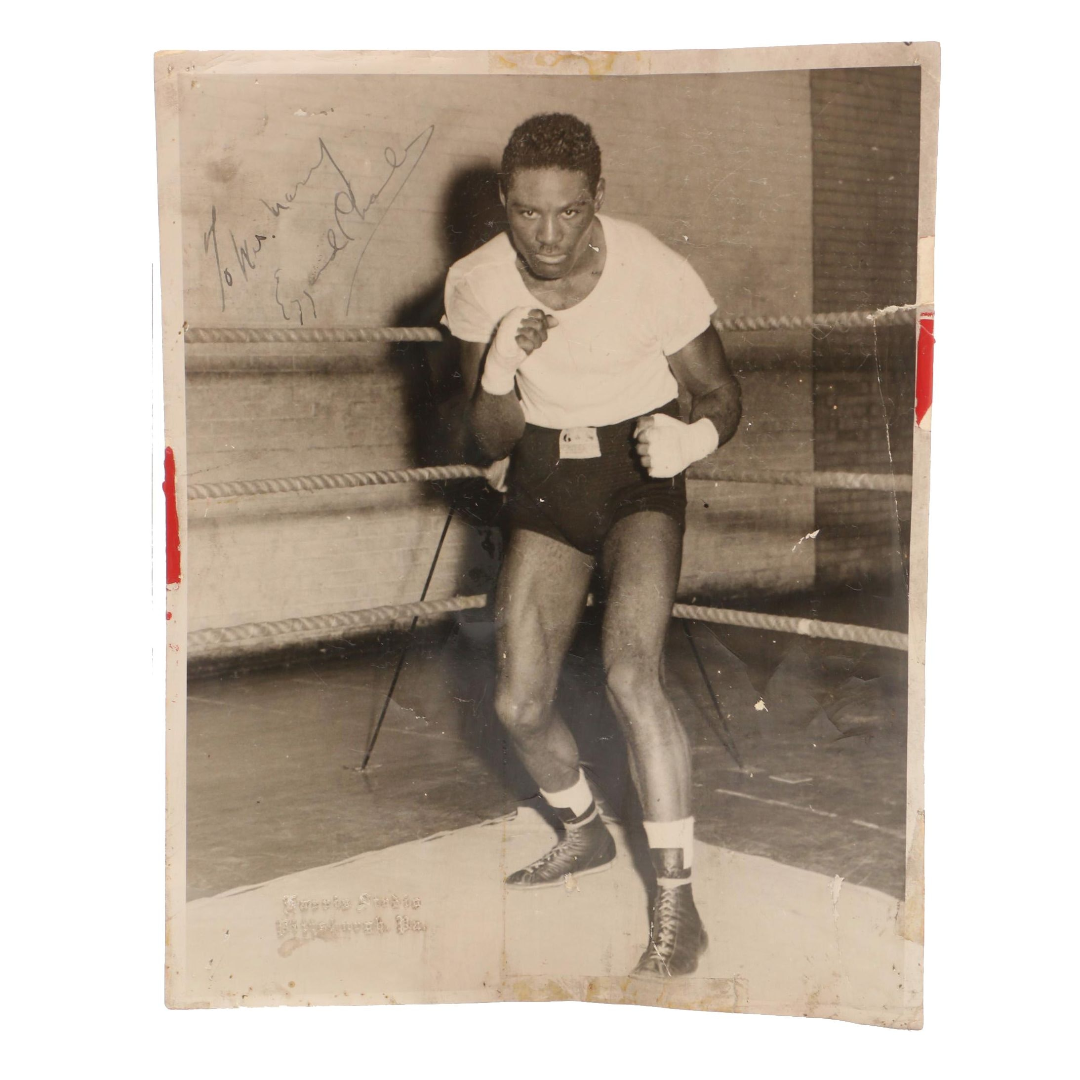 1940s-1950s Ezzard Charles Signed Boxing Photograph