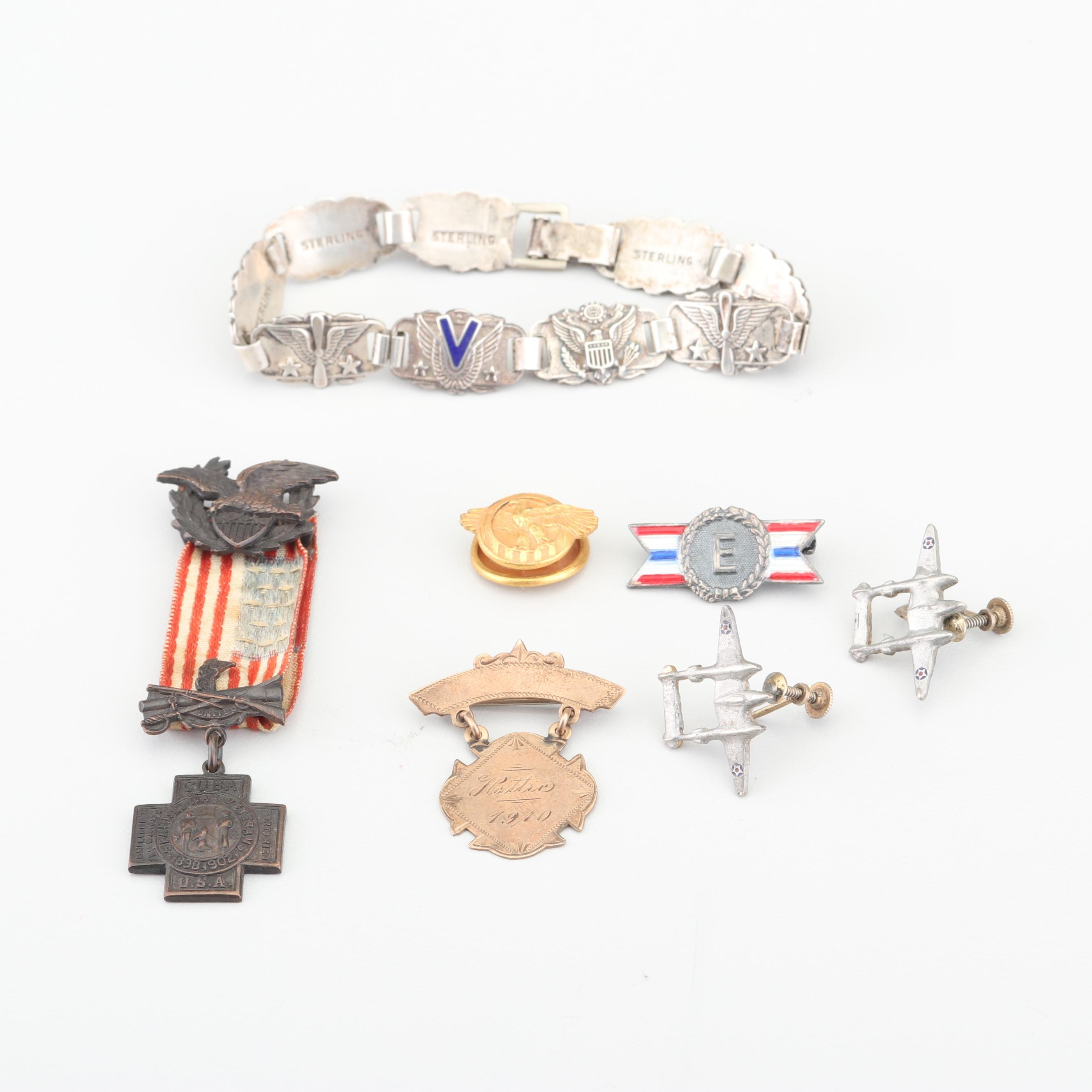 Military Pins, Medal, and Sterling Silver Bracelet