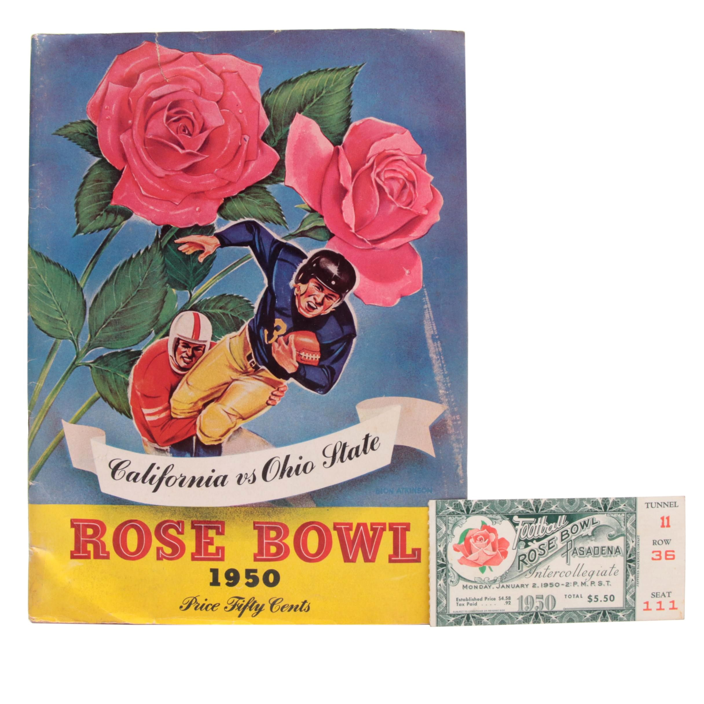 1950 Pose Bowl Football Game Program and Ticket Stub