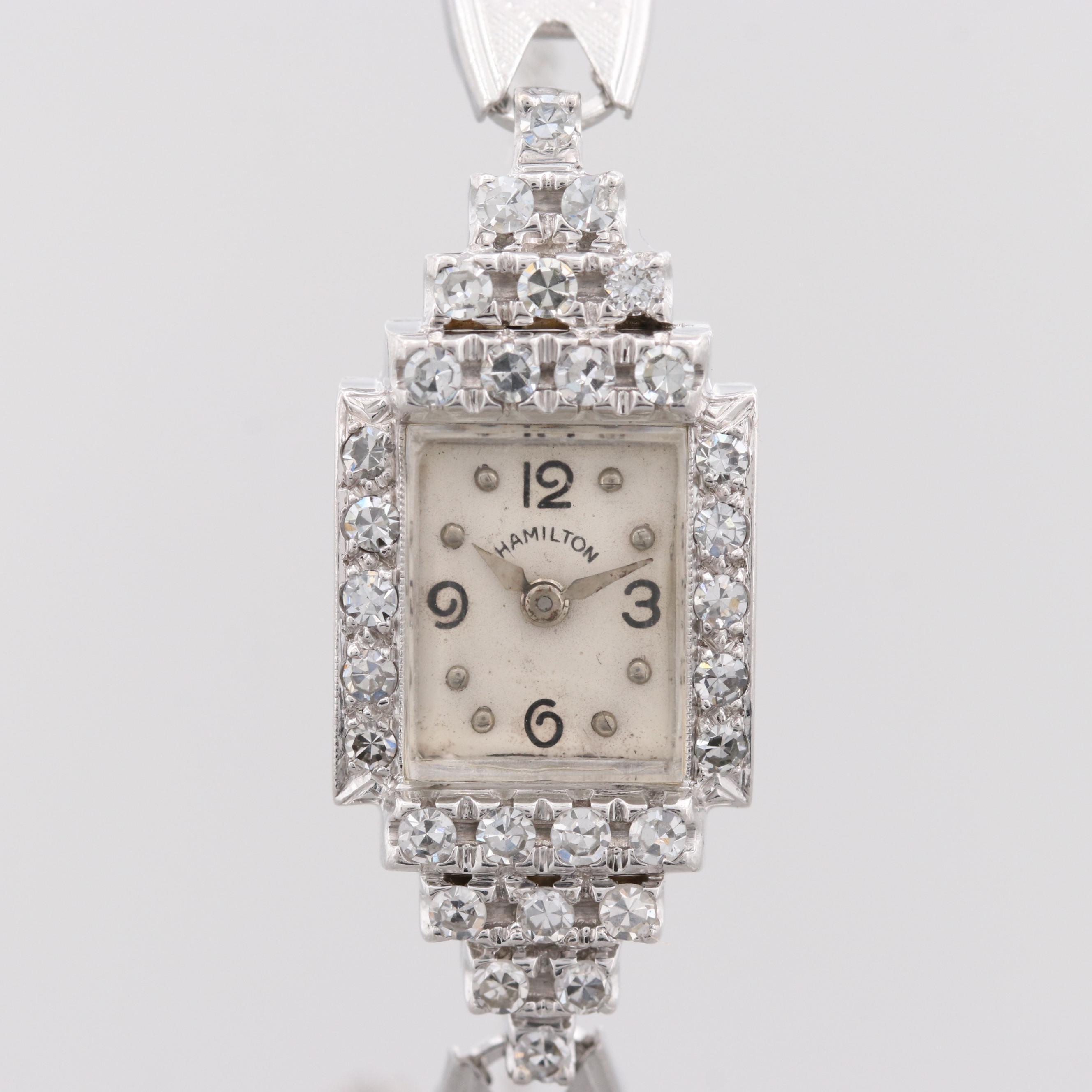 Hamilton 1.00 CTW Diamond and 14K White Gold Wristwatch
