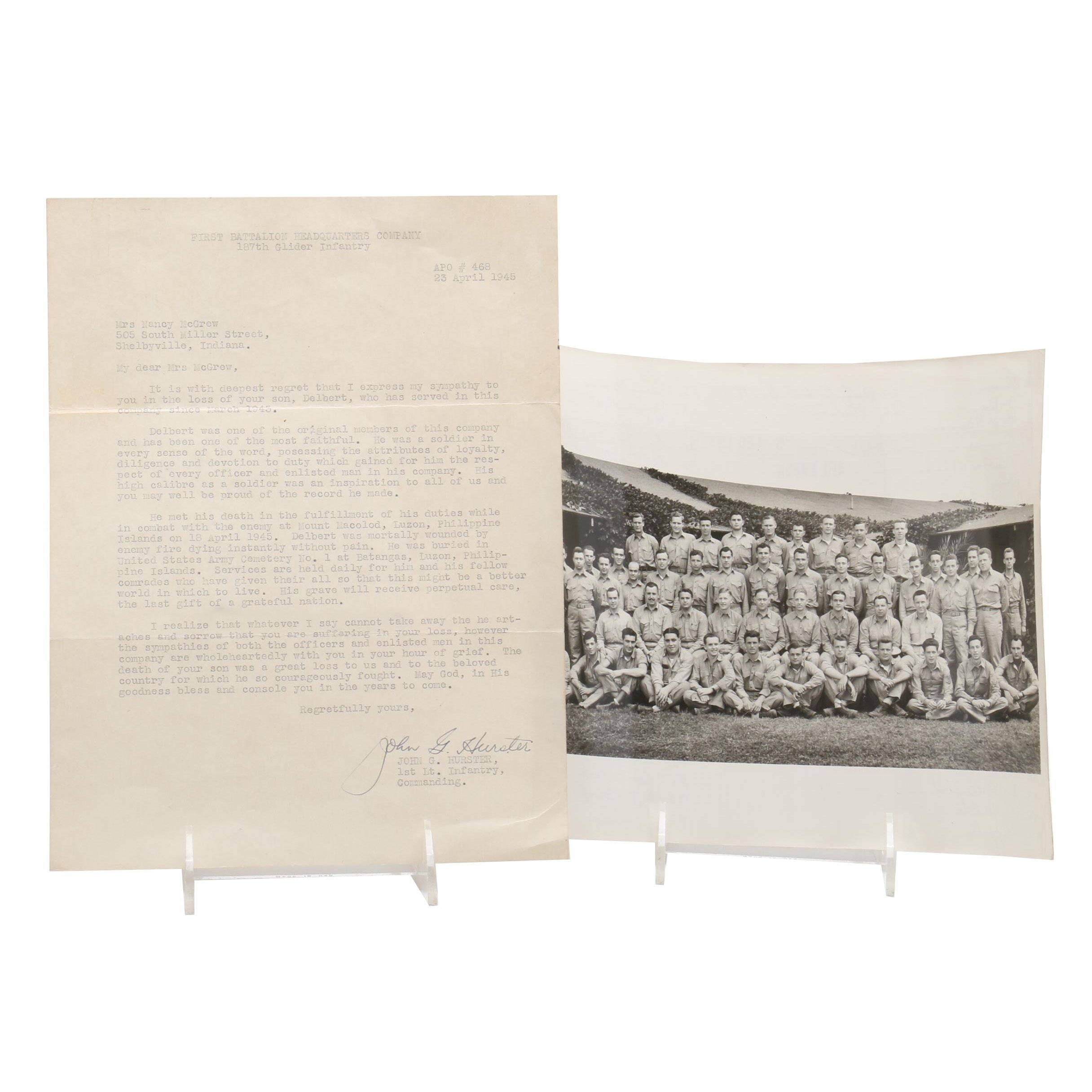 WWII John G. Hurster Infantry Commander Signed Letter and Unit Squad Photograph