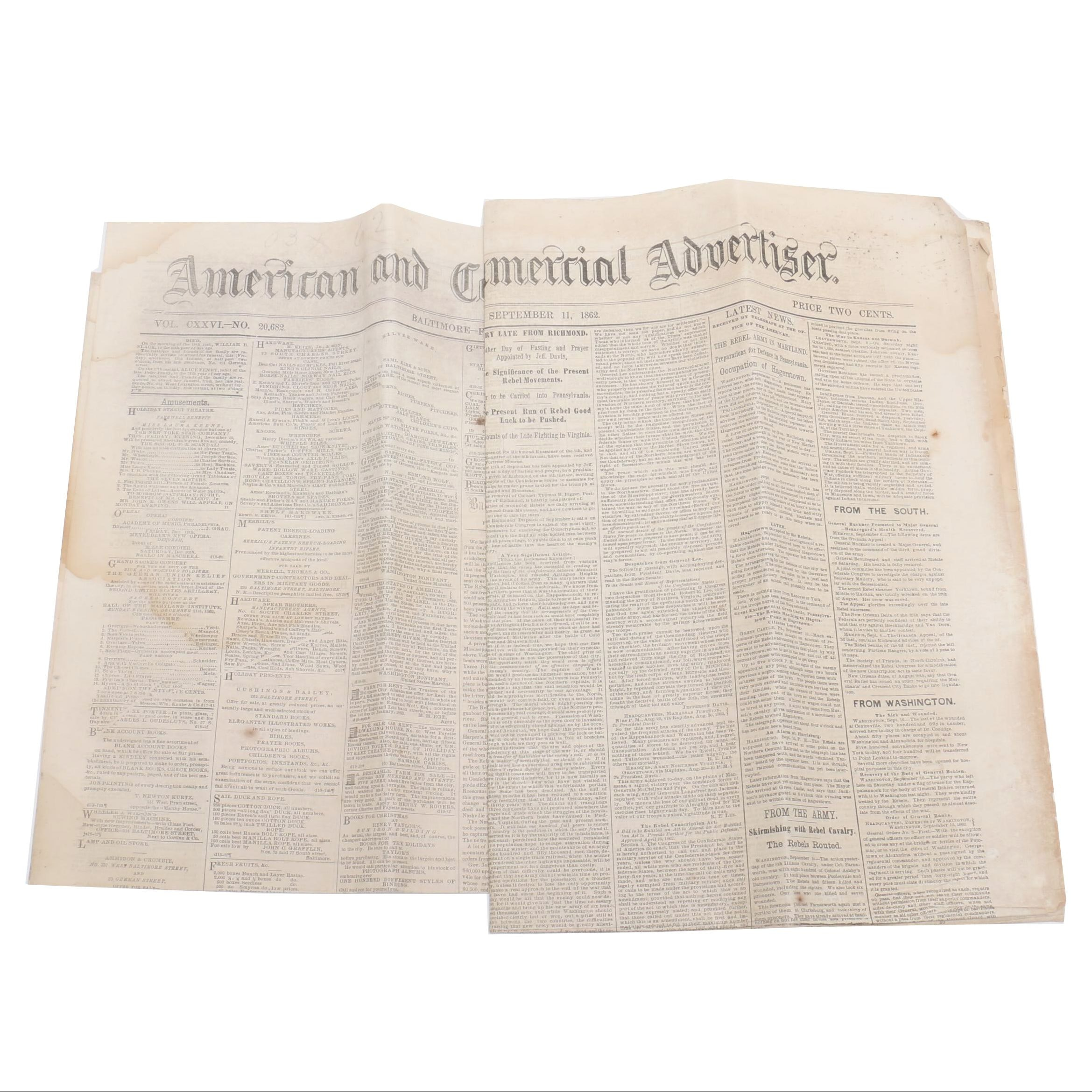 """1862 """"American and Commercial Advertiser"""" Civil War Era Newspapers"""