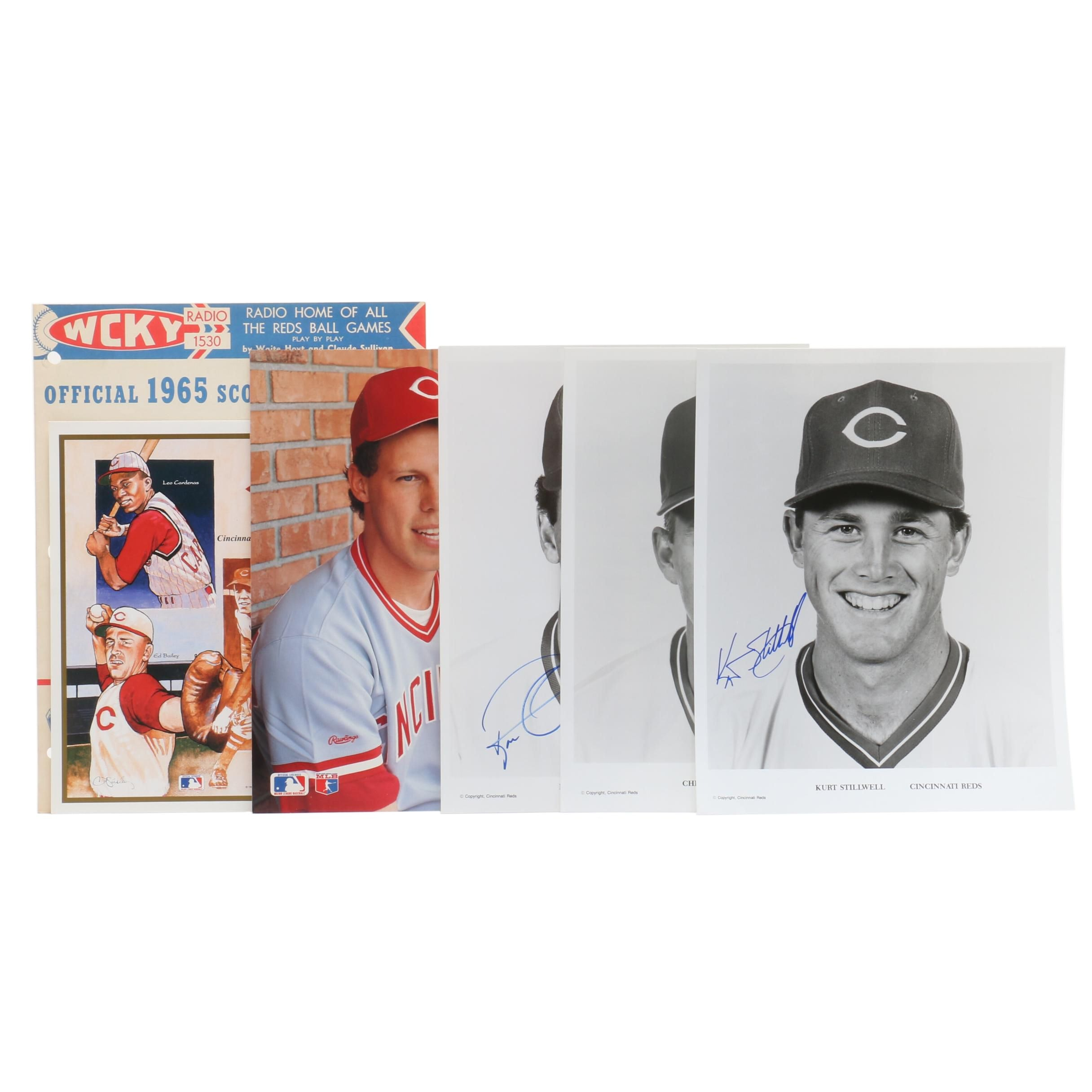 Cincinnati Reds Signed Player Photo Prints and 1965 Scorecard