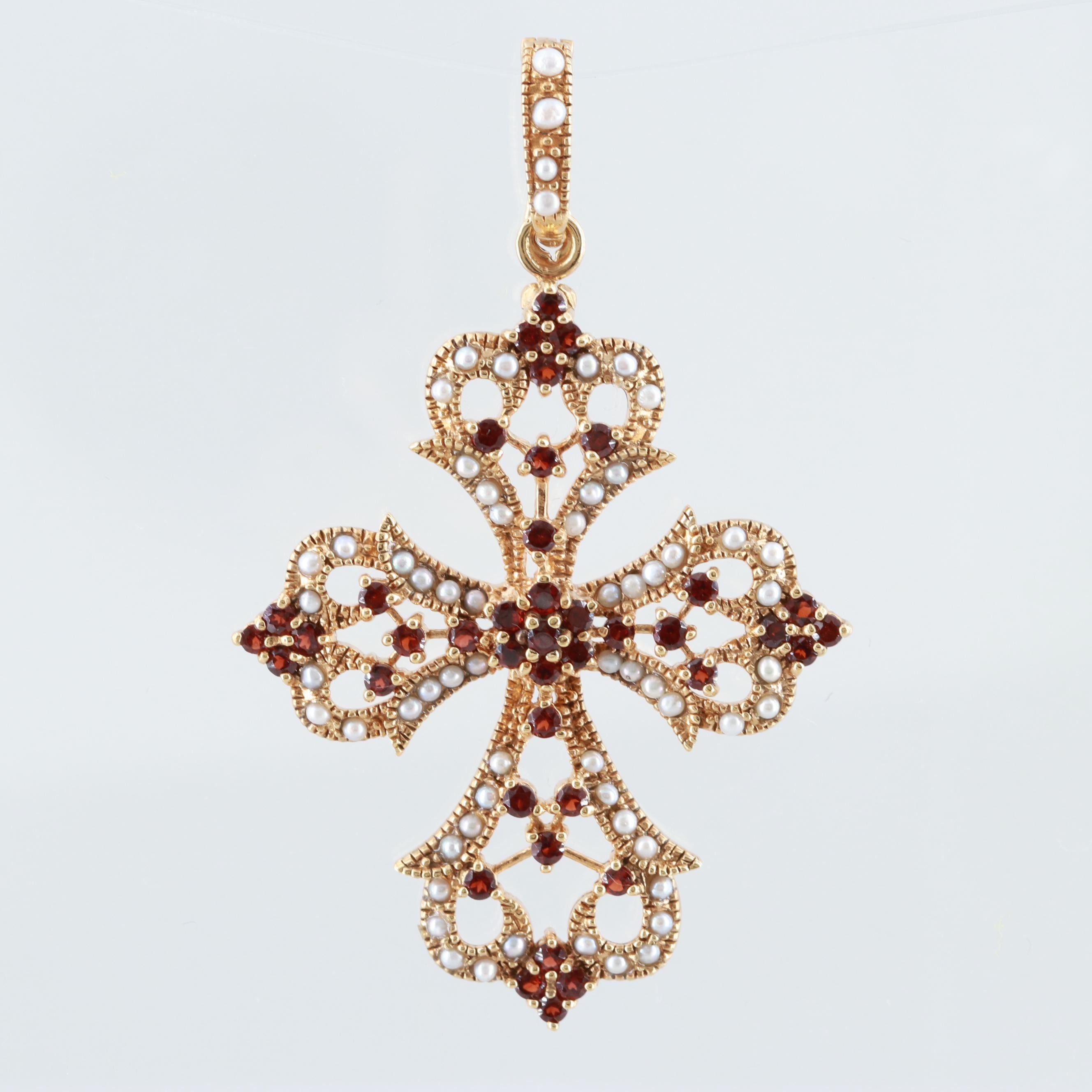 Gold Wash on Sterling Silver Garnet and Cultured Pearl Cross Enhancer Pendant