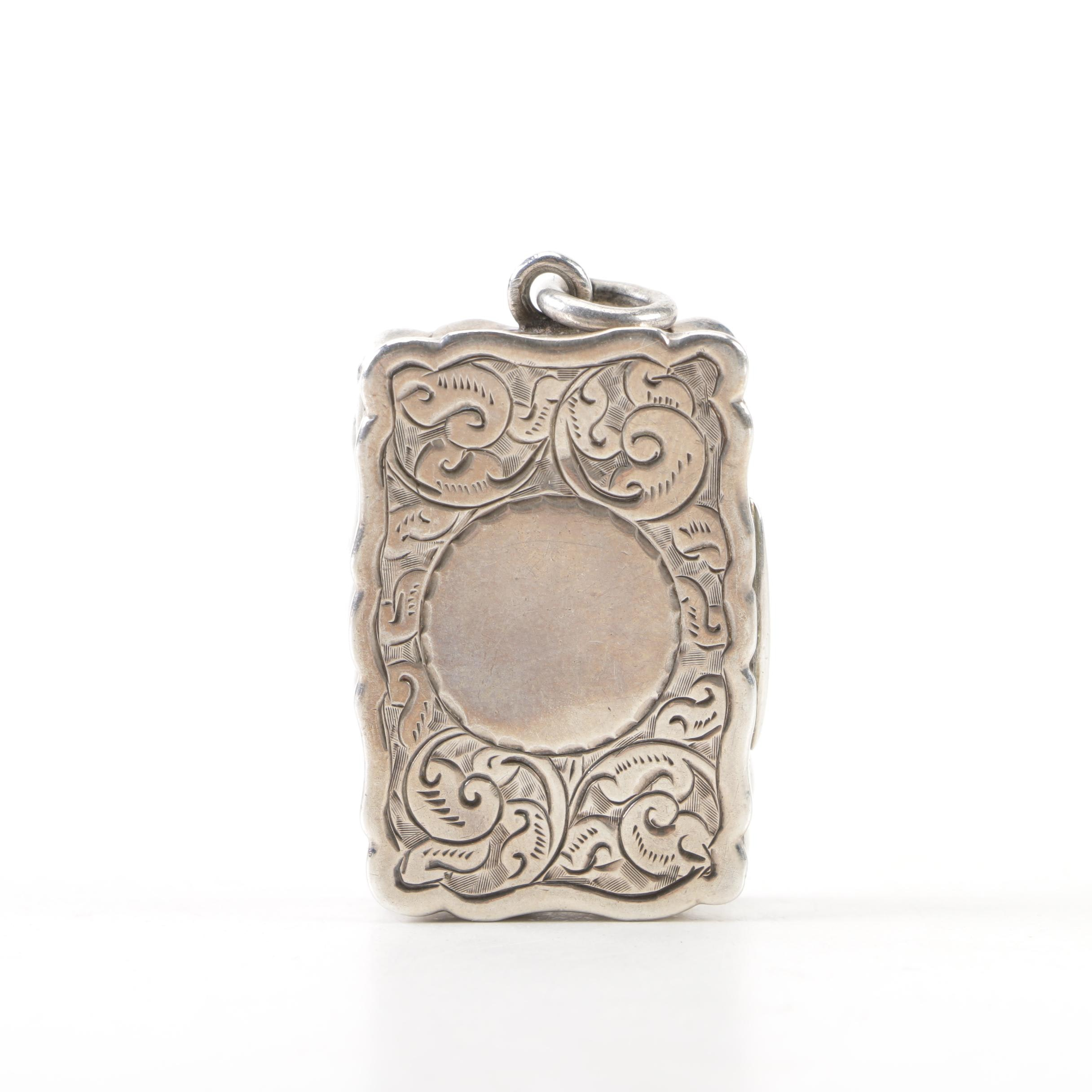Victorian Sterling Silver Engraved Vinaigrette with Mark of George Unite