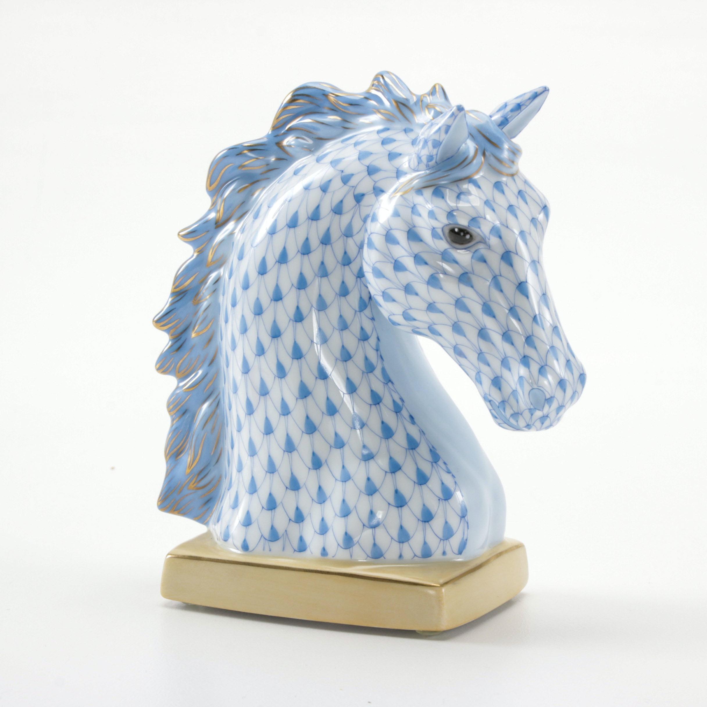 """Herend """"Horse Bust"""" Porcelain Figurine"""