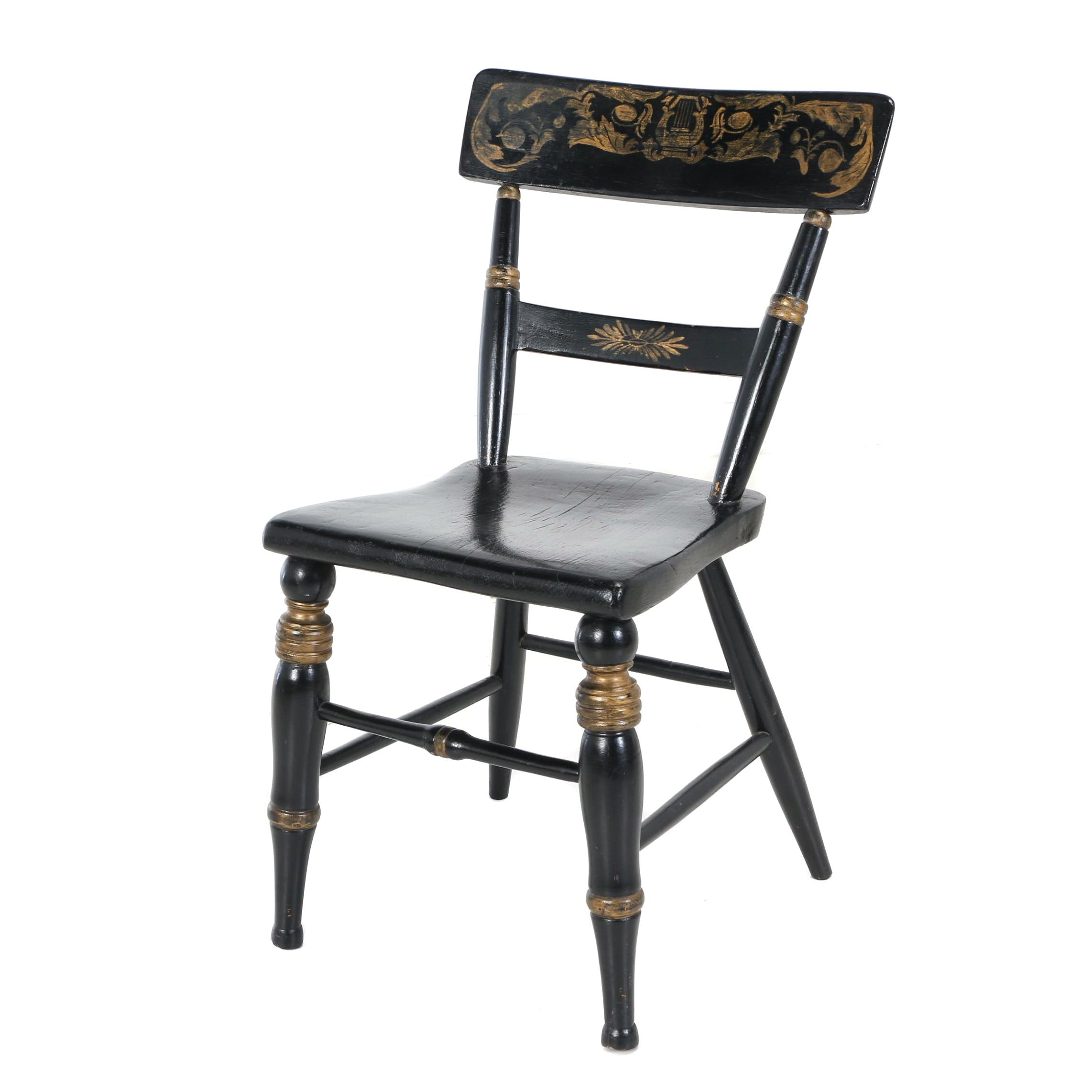 Late Federal Ebonized and Parcel-Gilt Side Chair, Possibly Baltimore, Circa 1830