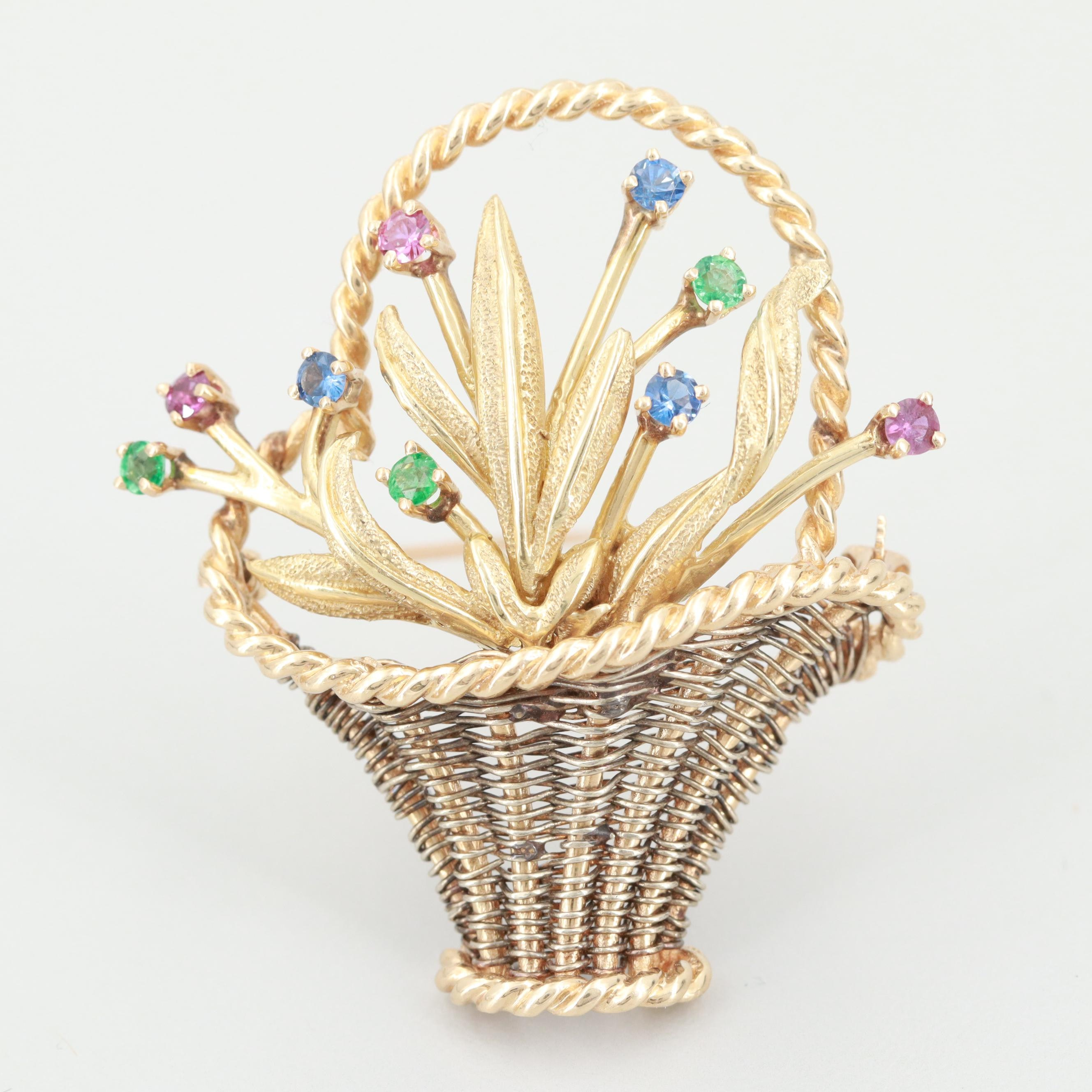14K Yellow Gold Ruby, Emerald, and Blue Sapphire Gardinetto Brooch
