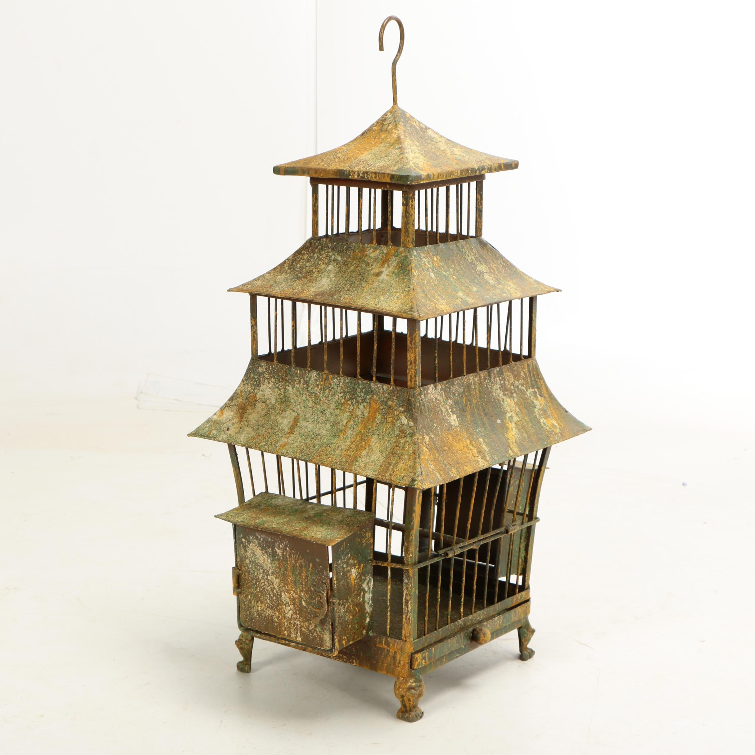 "Chinese Provincial Style ""Shanghai"" Decorative Metal Birdhouse"