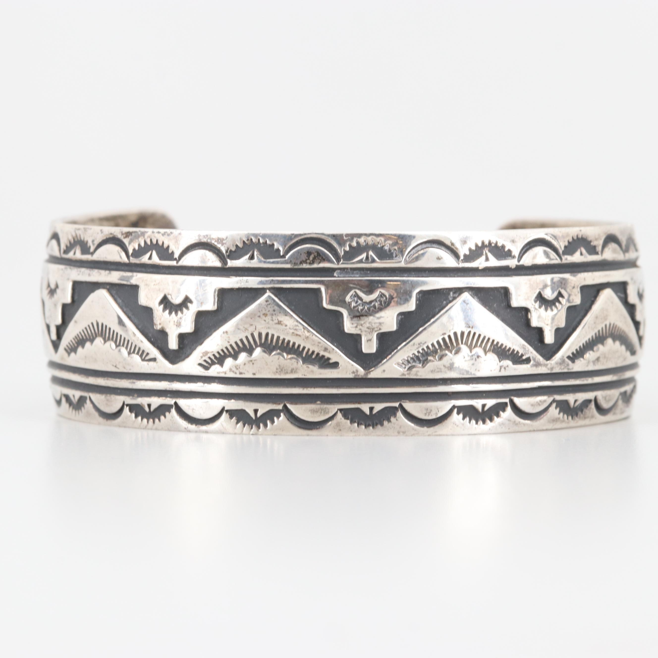 Tom Billy Navajo Diné Sterling Silver Overlay Cuff Bracelet