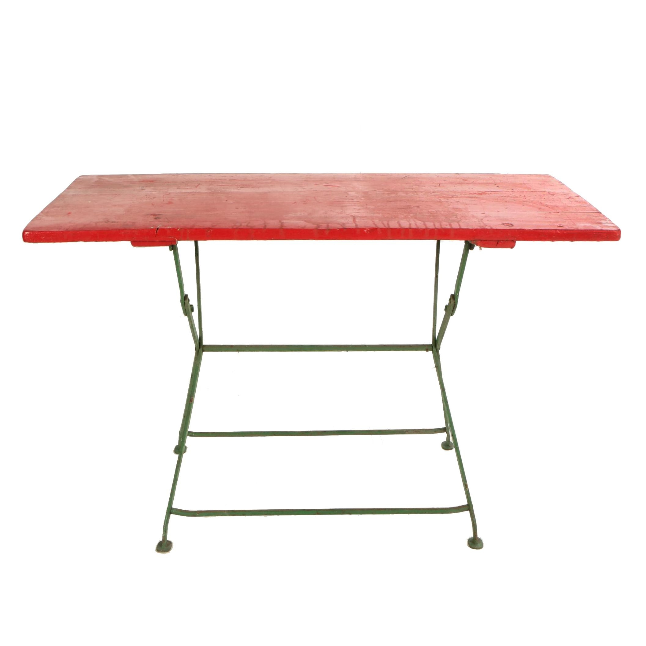 German Painted Pine and Cast Iron Beirgarten Table, 20th Century