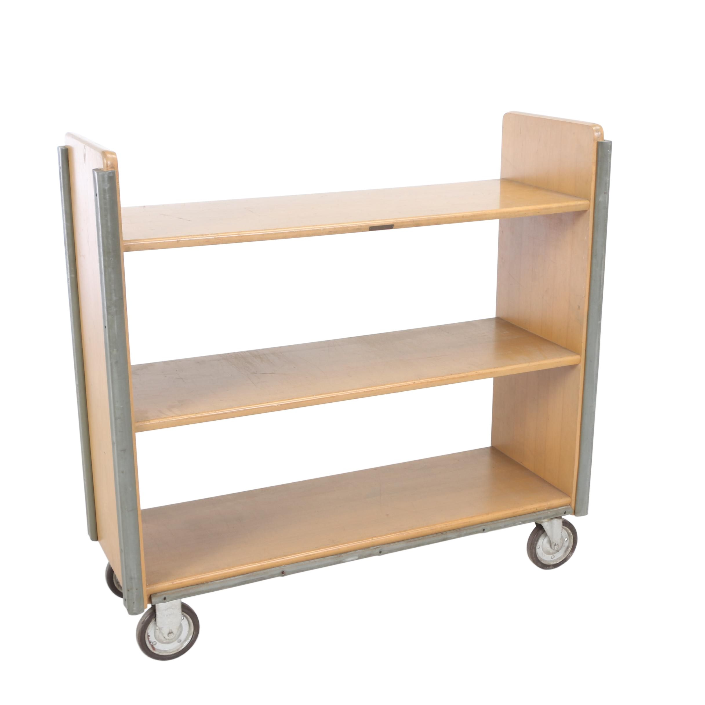 Three-Tier Library Book Cart by Standard Wood Products Corp., Mid 20th Century
