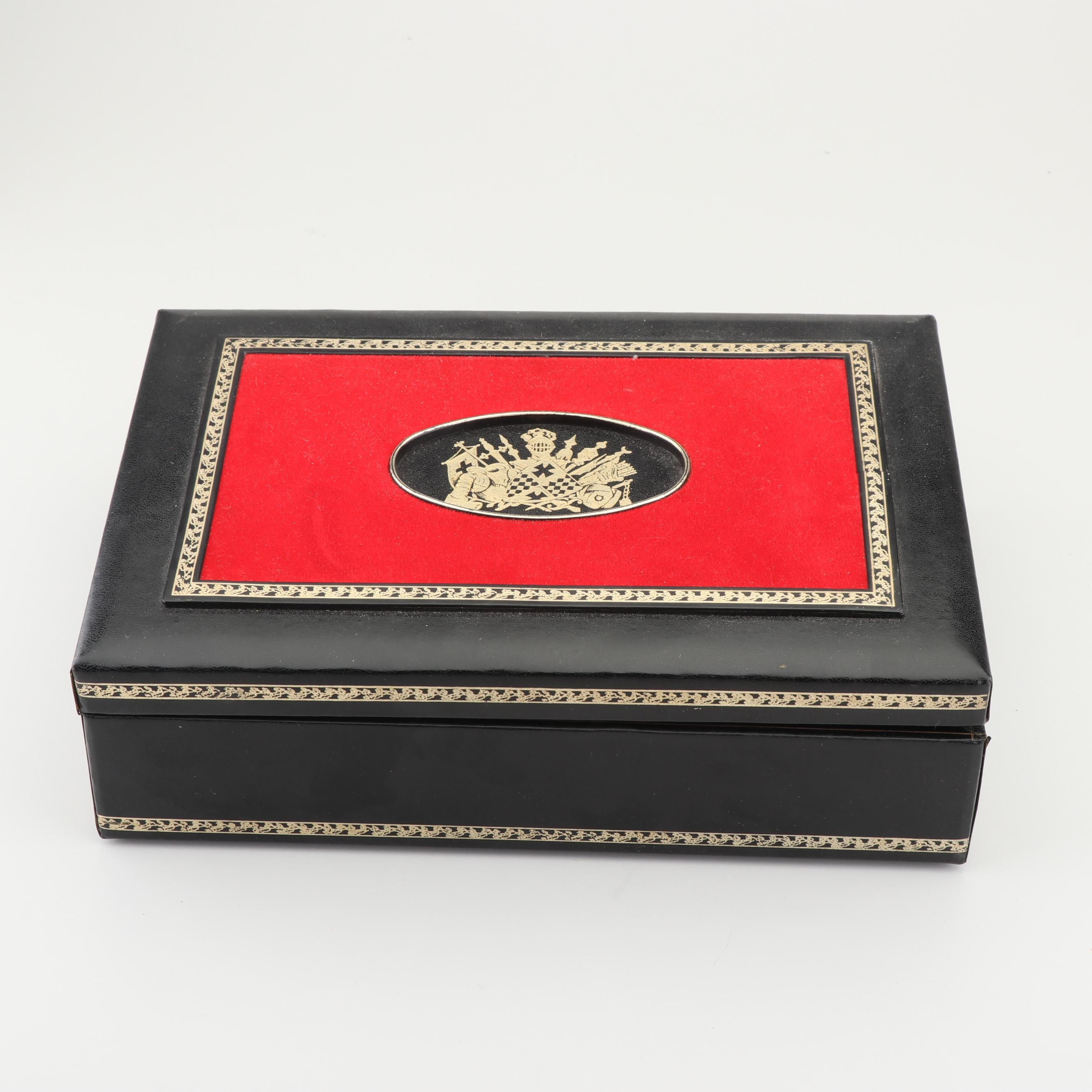 Swank Jewelry Case with Bejeweled Cufflinks and Tie Pins