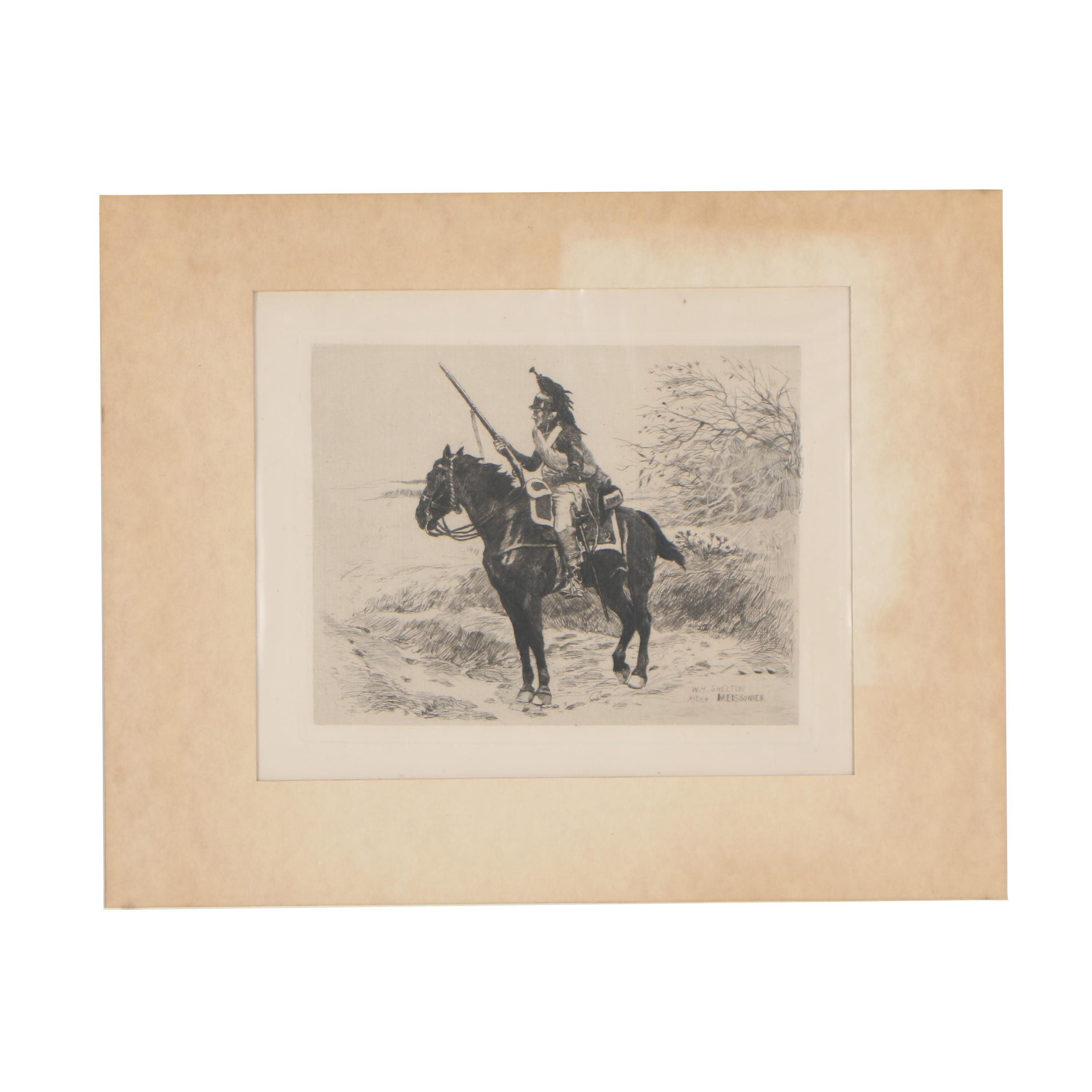 William H. Shelton Etching after Ernest Meissonier of Mounted Dragoon