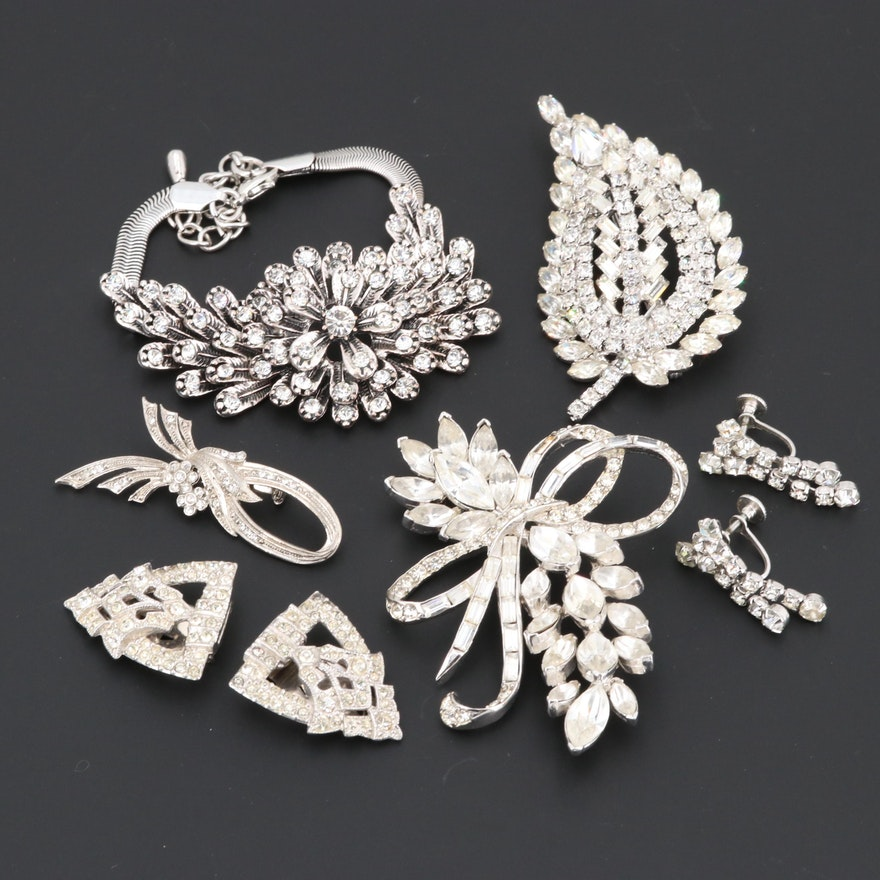 0bb644bd0df Brooches, Bracelet and Earrings Including Pell, Foilbacks and Glass ...
