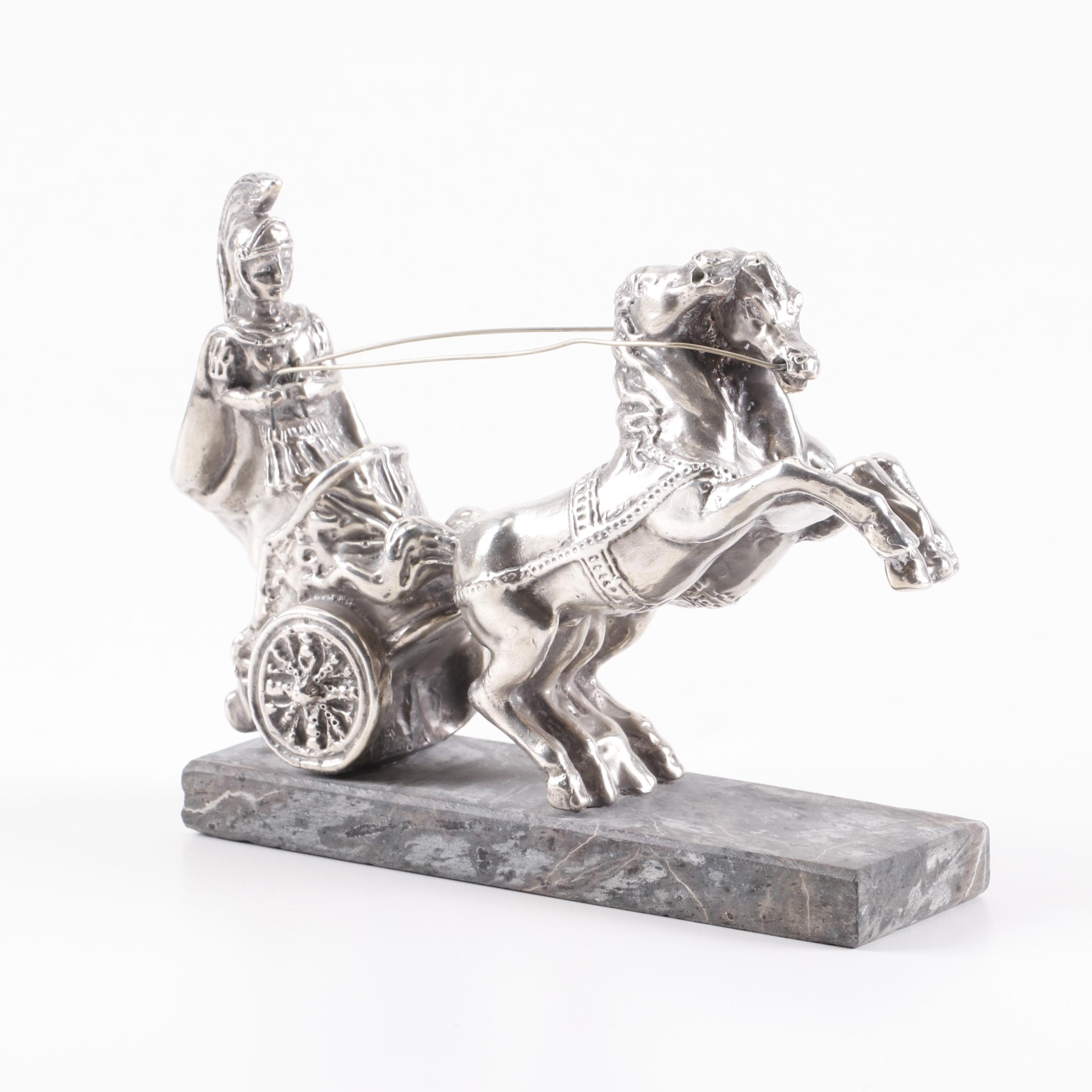 Silver Plated Roman Chariot Sculpture