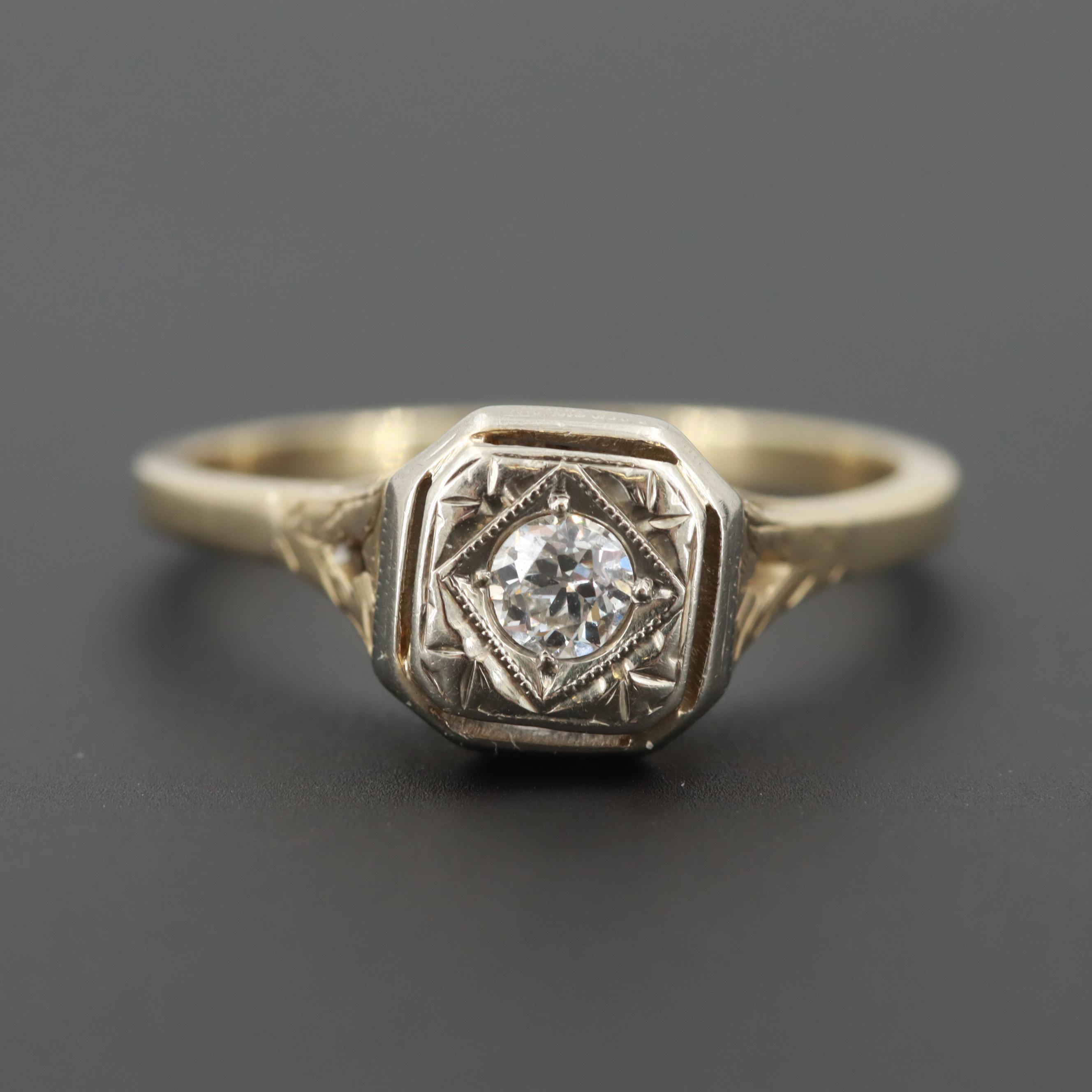 Vintage 14K Yellow Gold Diamond Ring with 18K White Gold Top Trim