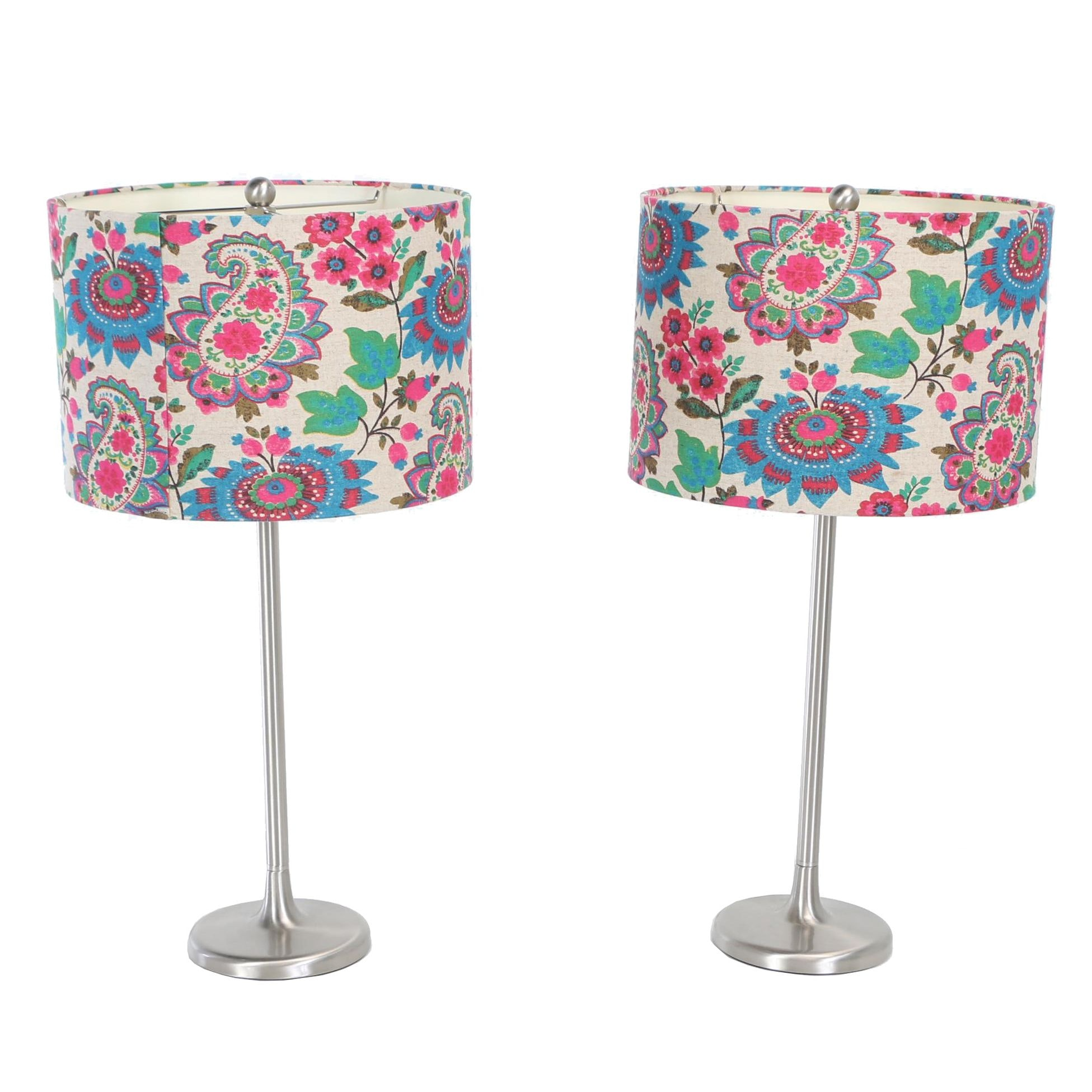 Modernist Style Brushed Steel Table Lamps with Printed Floral Shades