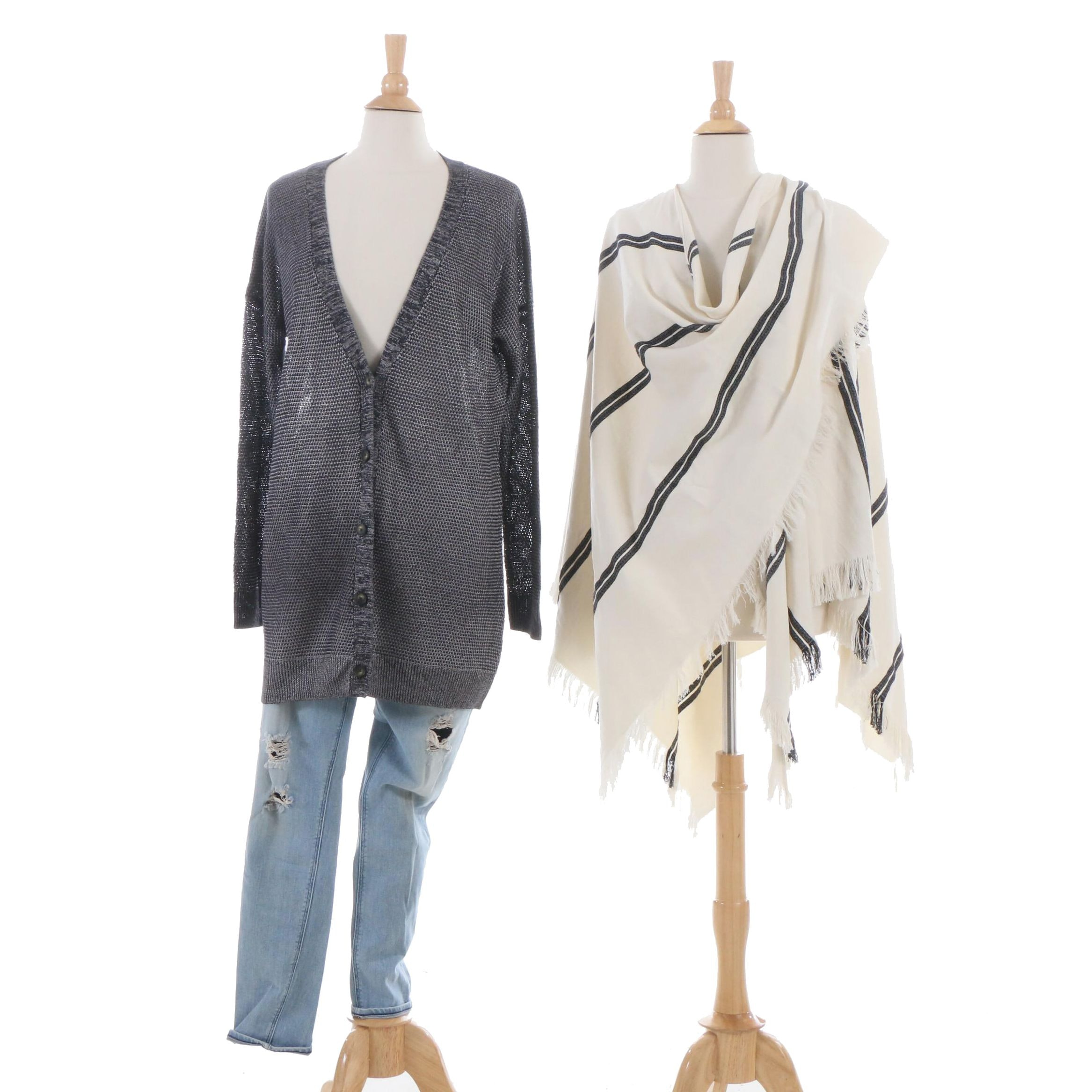 Vince Knit Cardigan, Eileen Fisher Wrap and McGuire Distressed Jeans