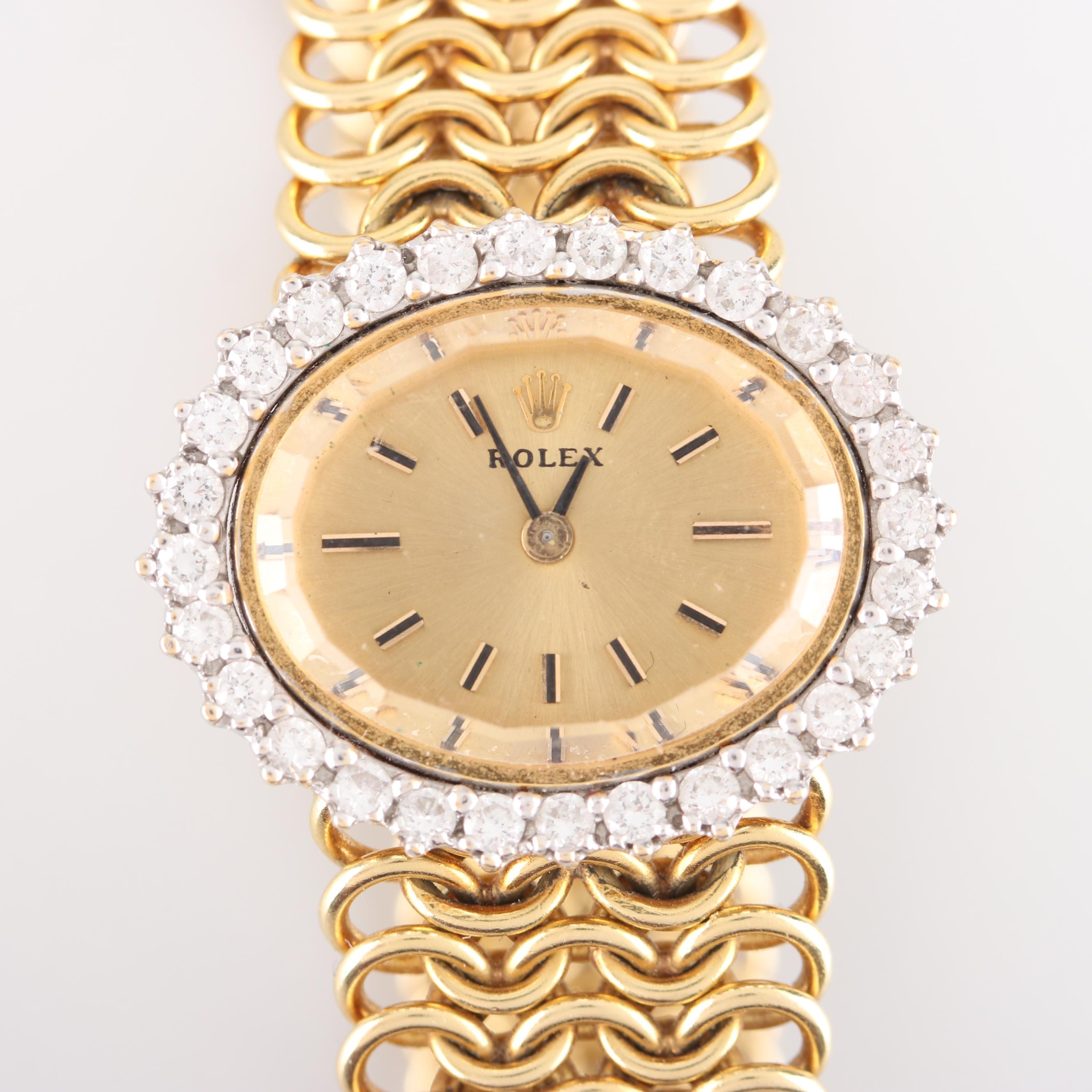 Rolex 18K Yellow Gold and Diamond Wristwatch