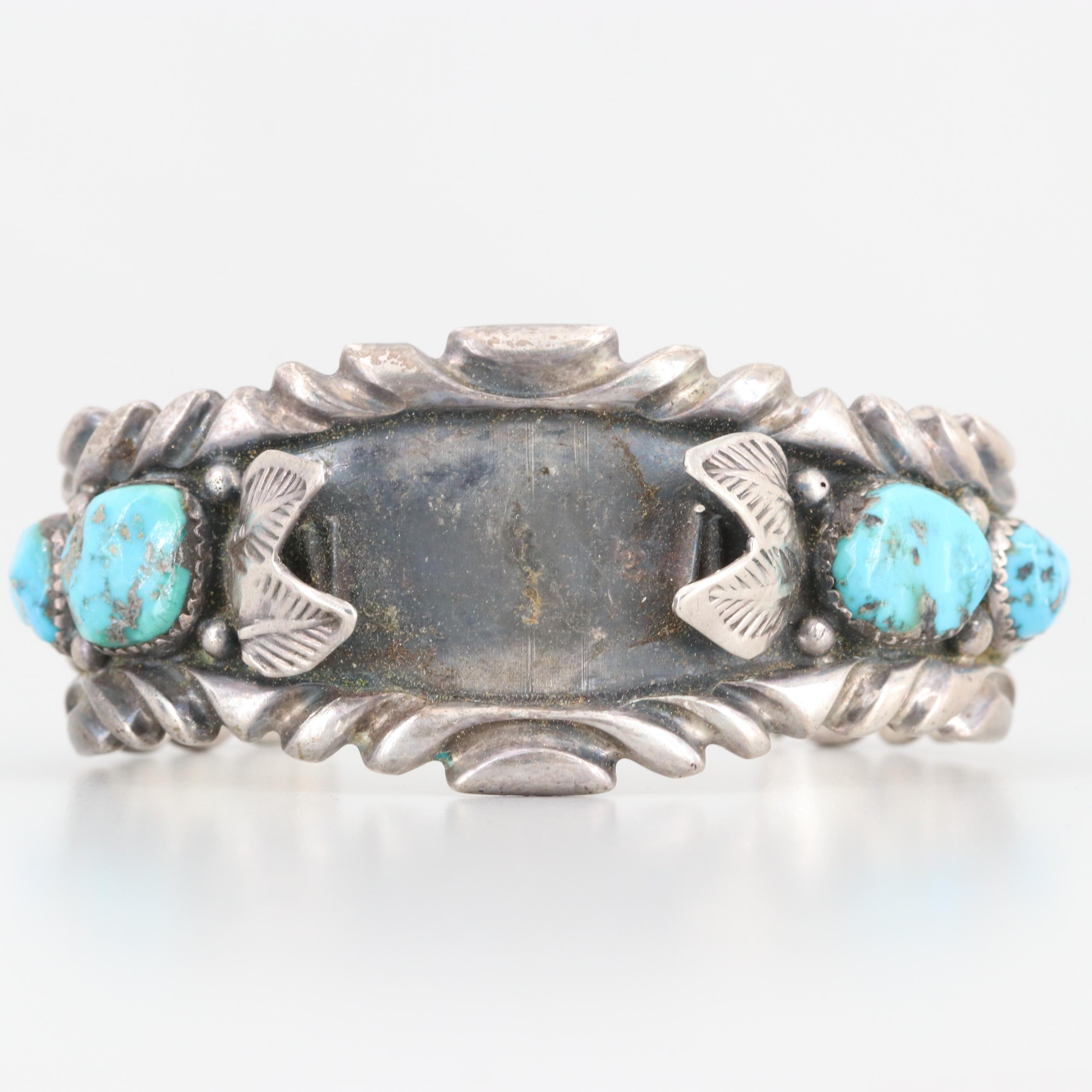 Vintage Benny Touchine Navajo Diné Turquoise Watch Cuff Bracelet