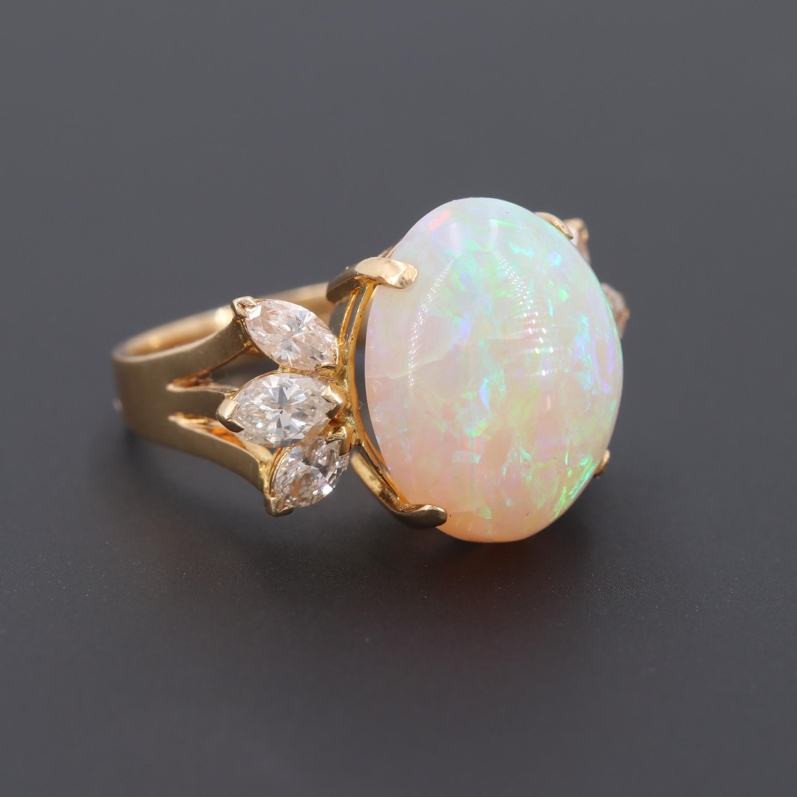 Vintage 18K Yellow Gold Opal and 1.00 CTW Diamond Ring