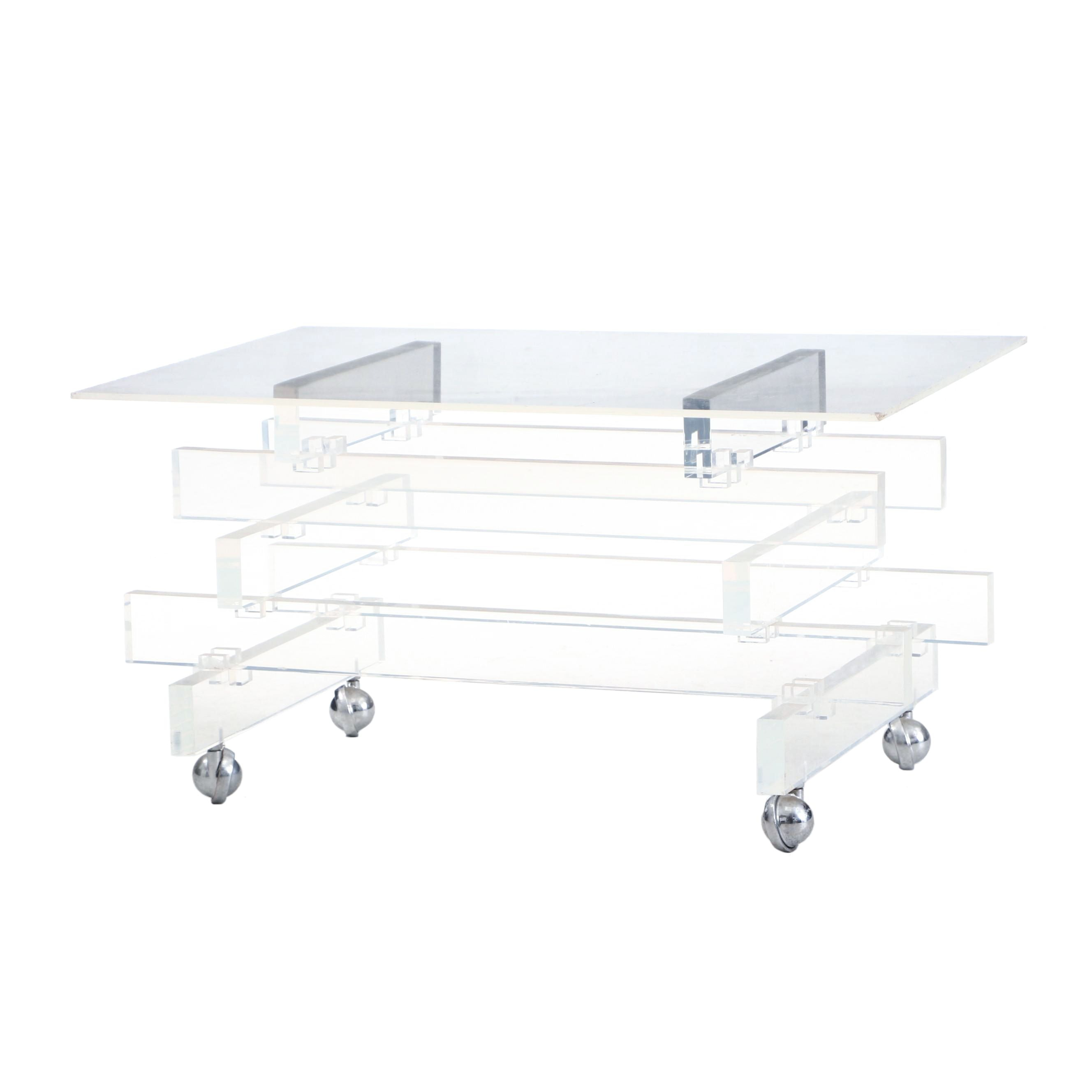 Clear Acrylic Table on Casters