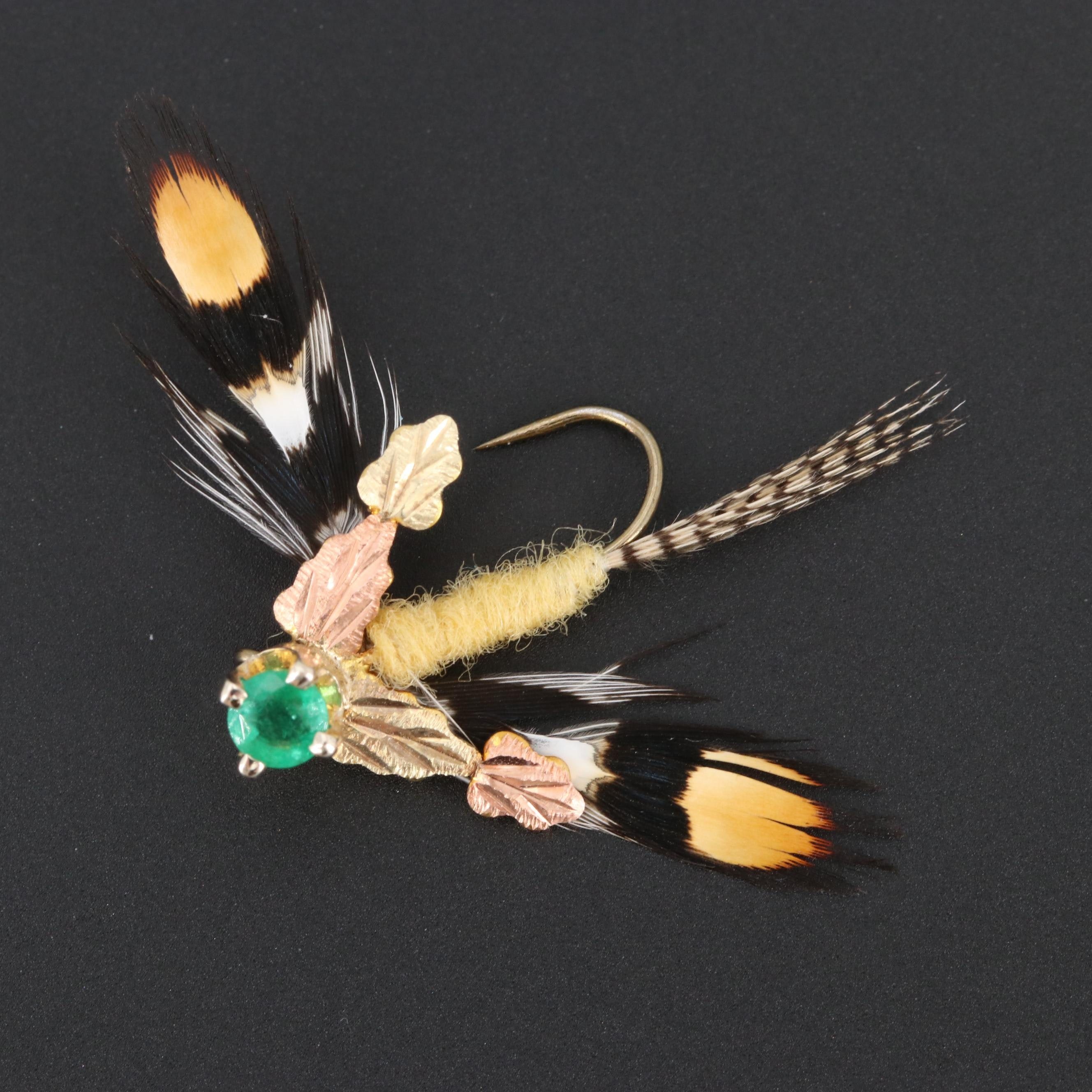14K Yellow Gold Emerald Fly Fishing Lure with 12K Rose and Green Gold Accents
