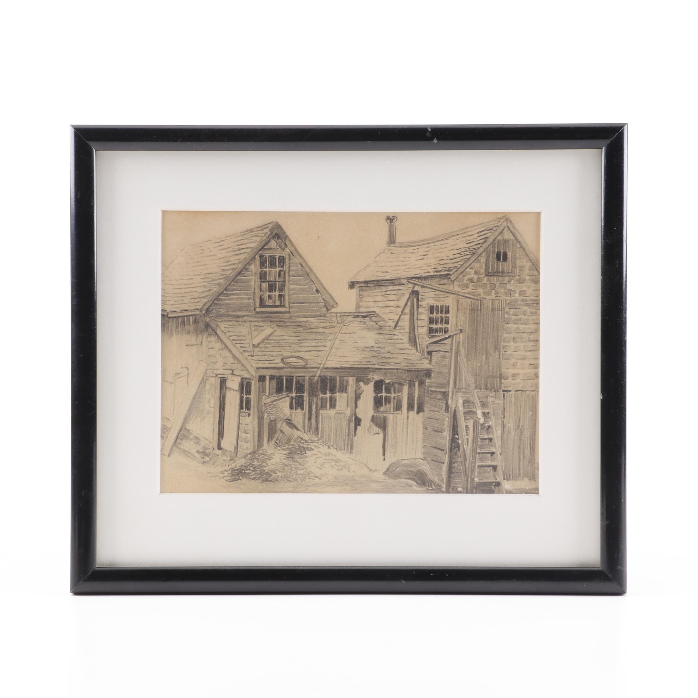 Graphite Drawing of Farm Buildings