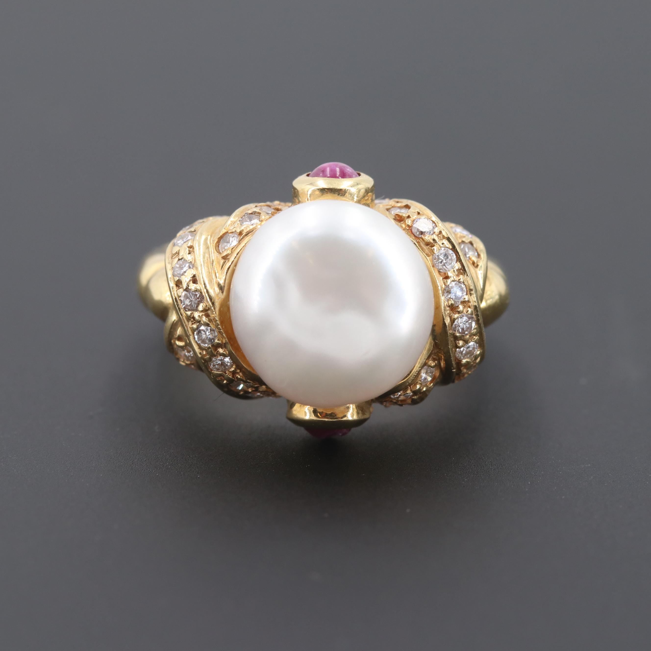 18K Yellow Gold Cultured Pearl, Ruby and Diamond Ring