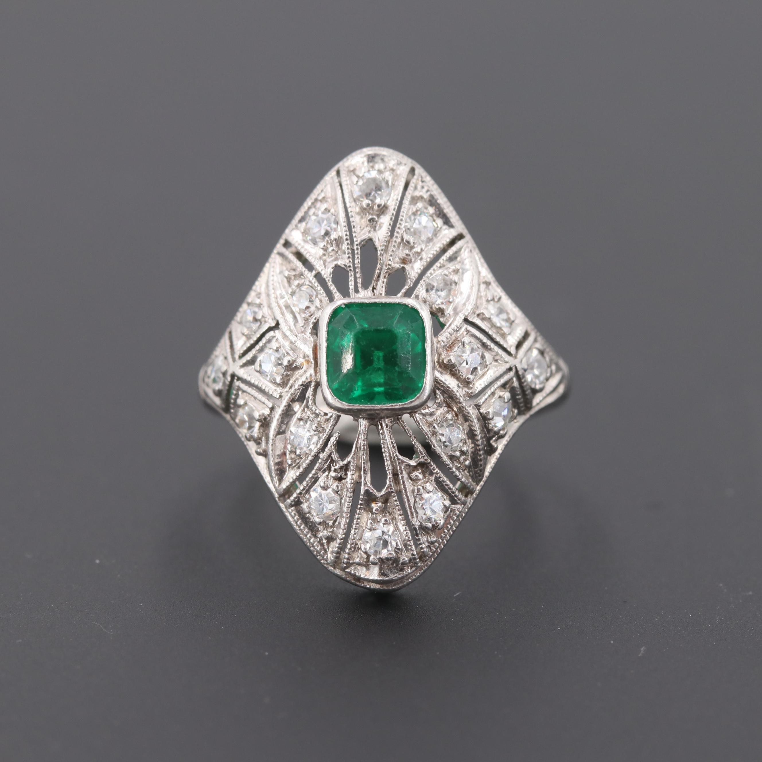 Art Deco Platinum Synthetic Emerald and Diamond Ring