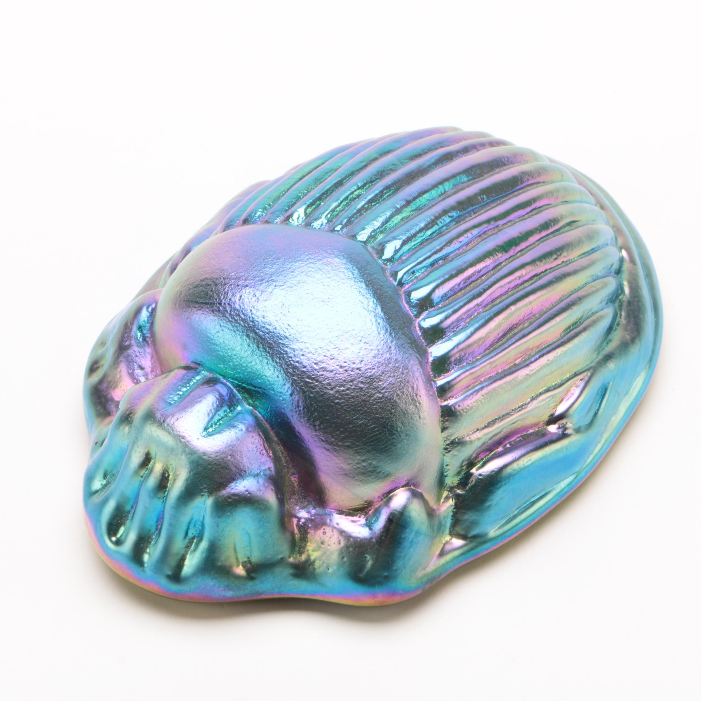 Tiffany Inspired Blue Iridescent Glass Scarab Paperweight