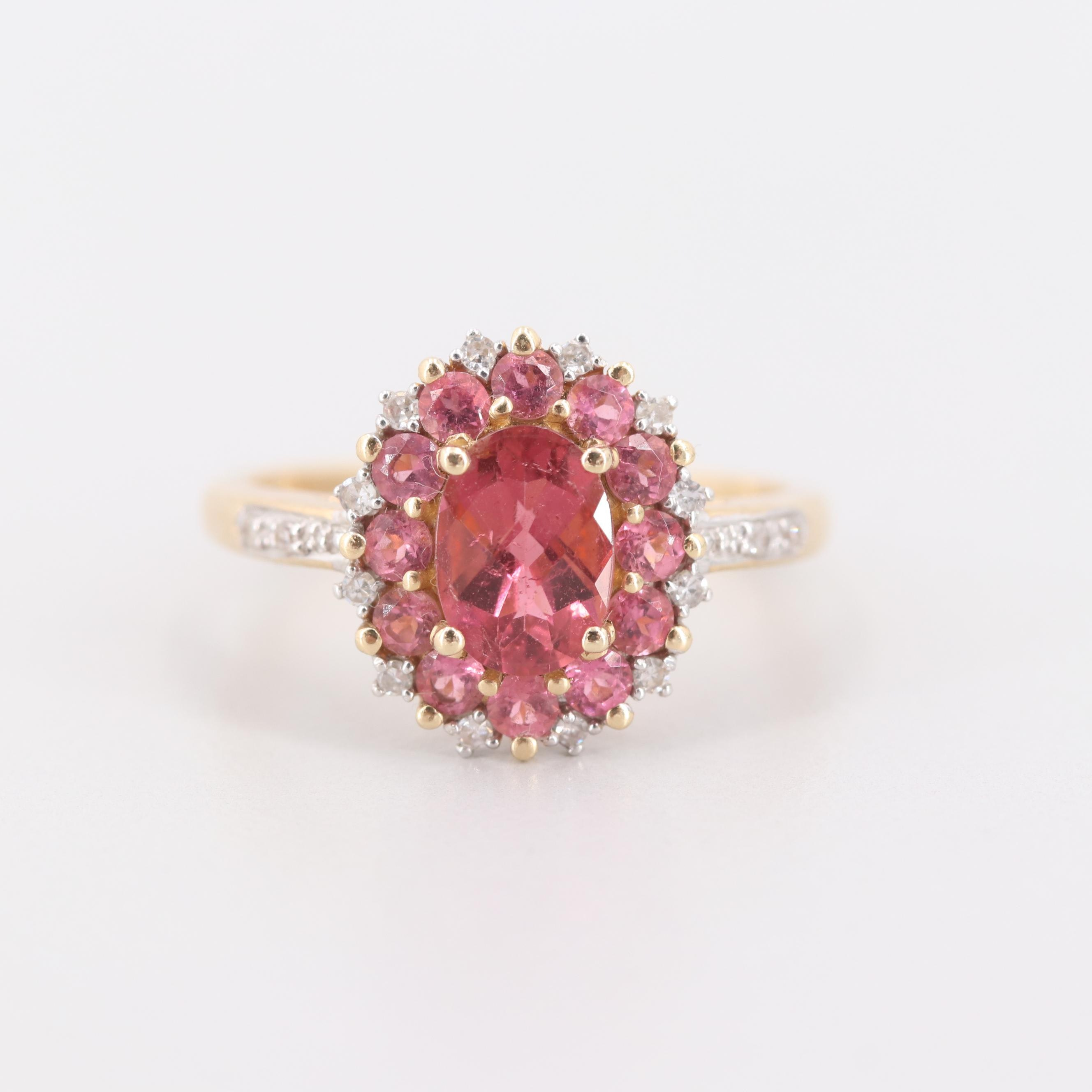 14K Yellow Gold Pink Tourmaline and Diamond Halo Ring