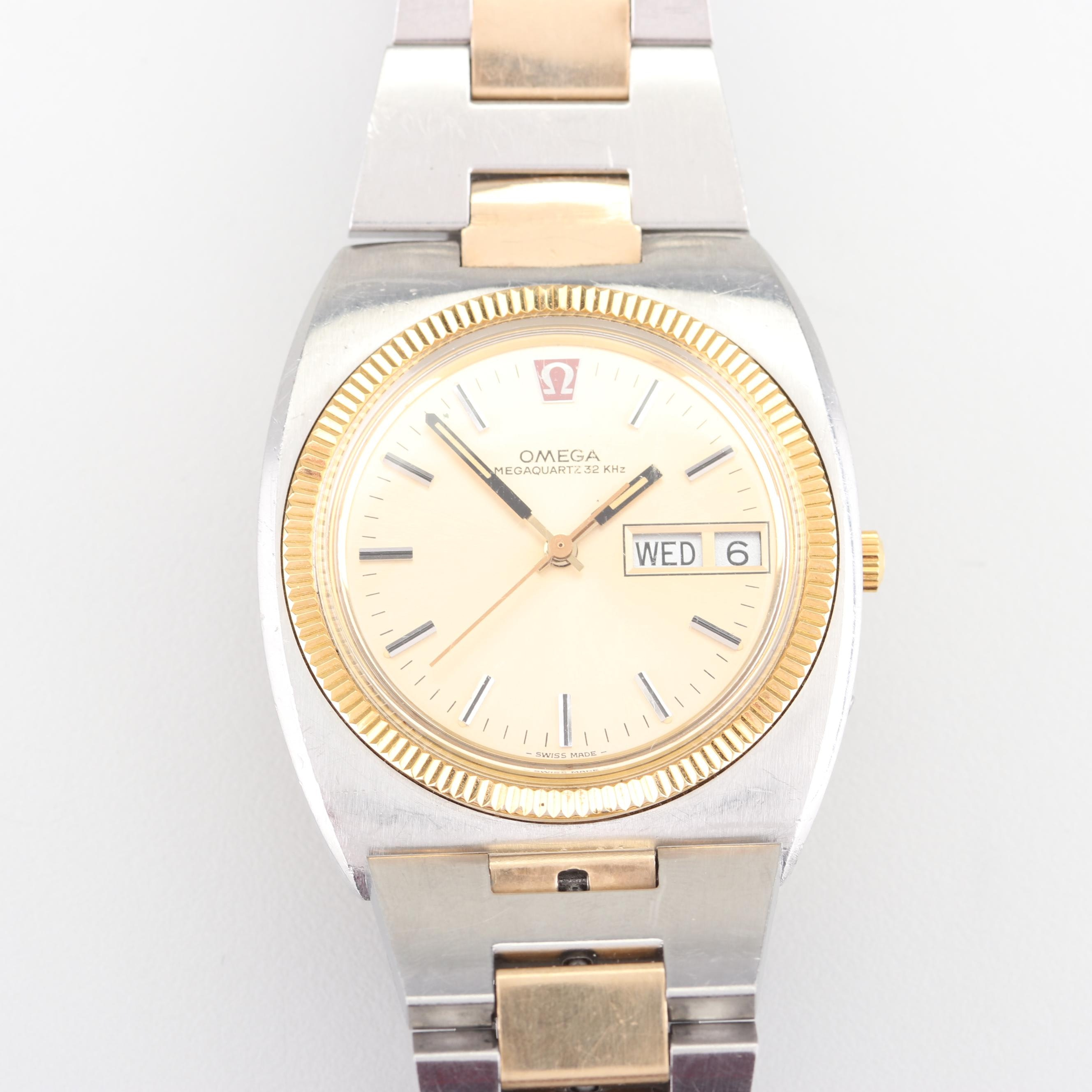 """OMEGA """"Champion"""" 10K Gold Overlay Accented Stainless Steel Wristwatch"""
