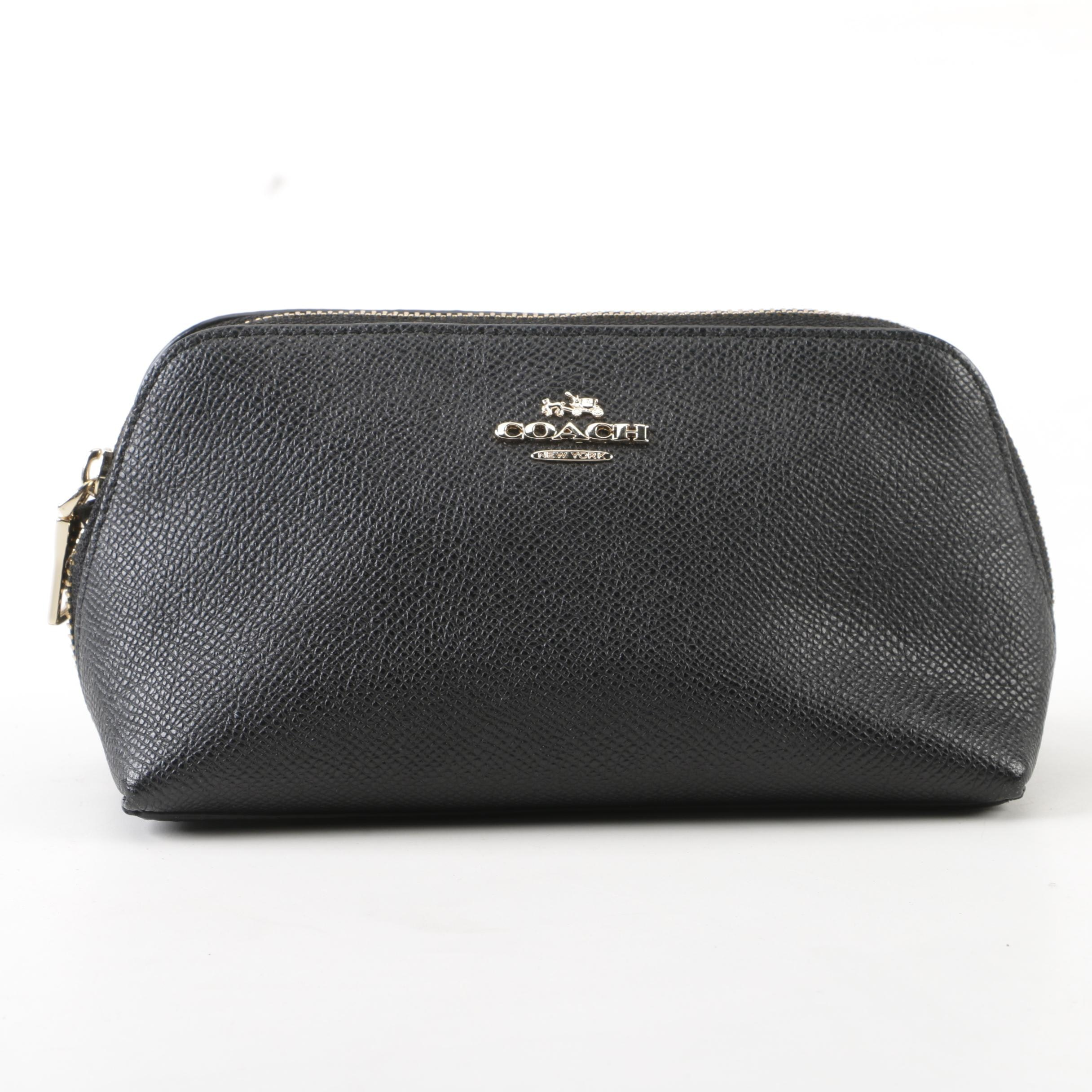 Coach New York Black Pebbled Leather Cosmetic Case