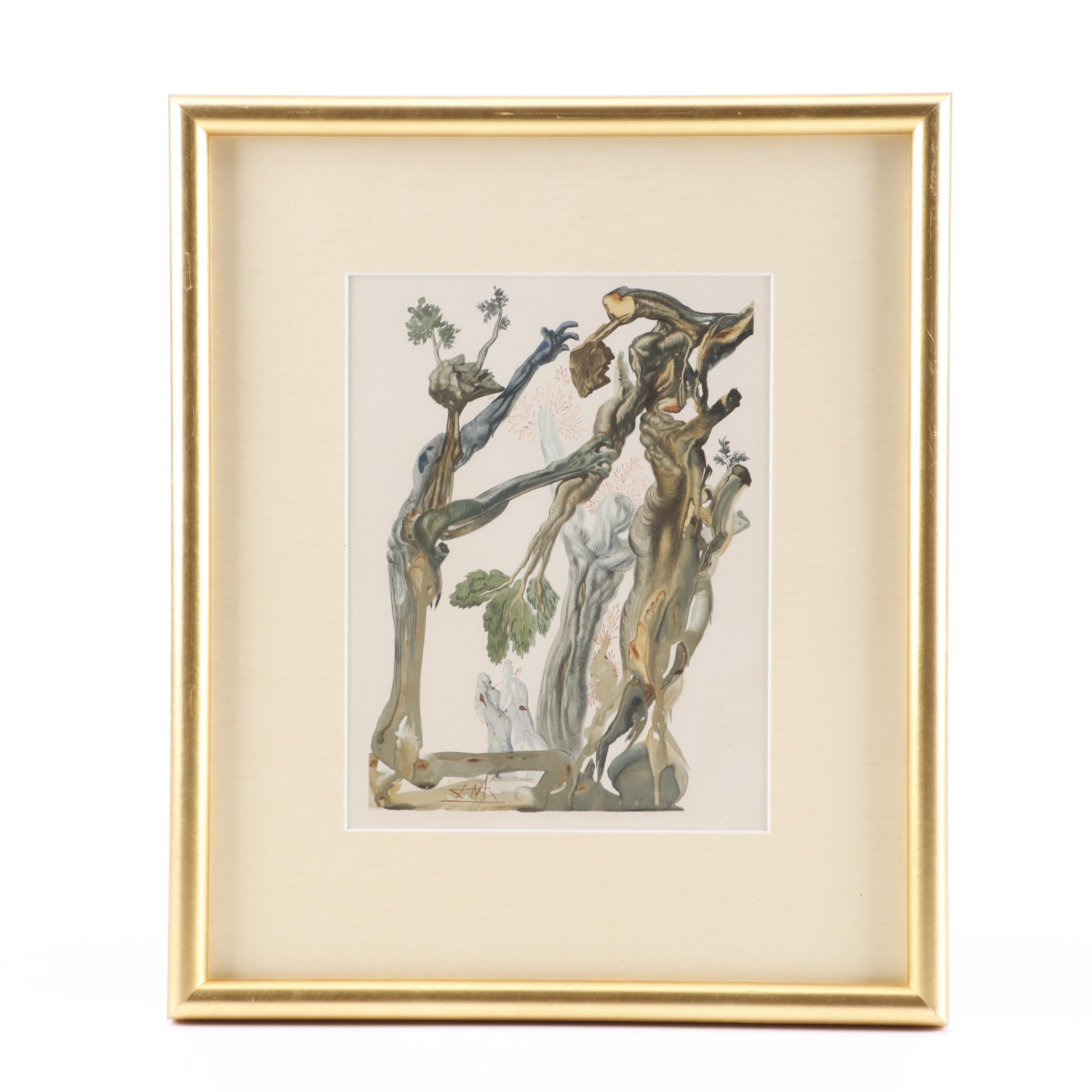 """Salvador Dalí Wood Engraving """"Hell Canto 13: Le Forêt Des Suicidés"""""""