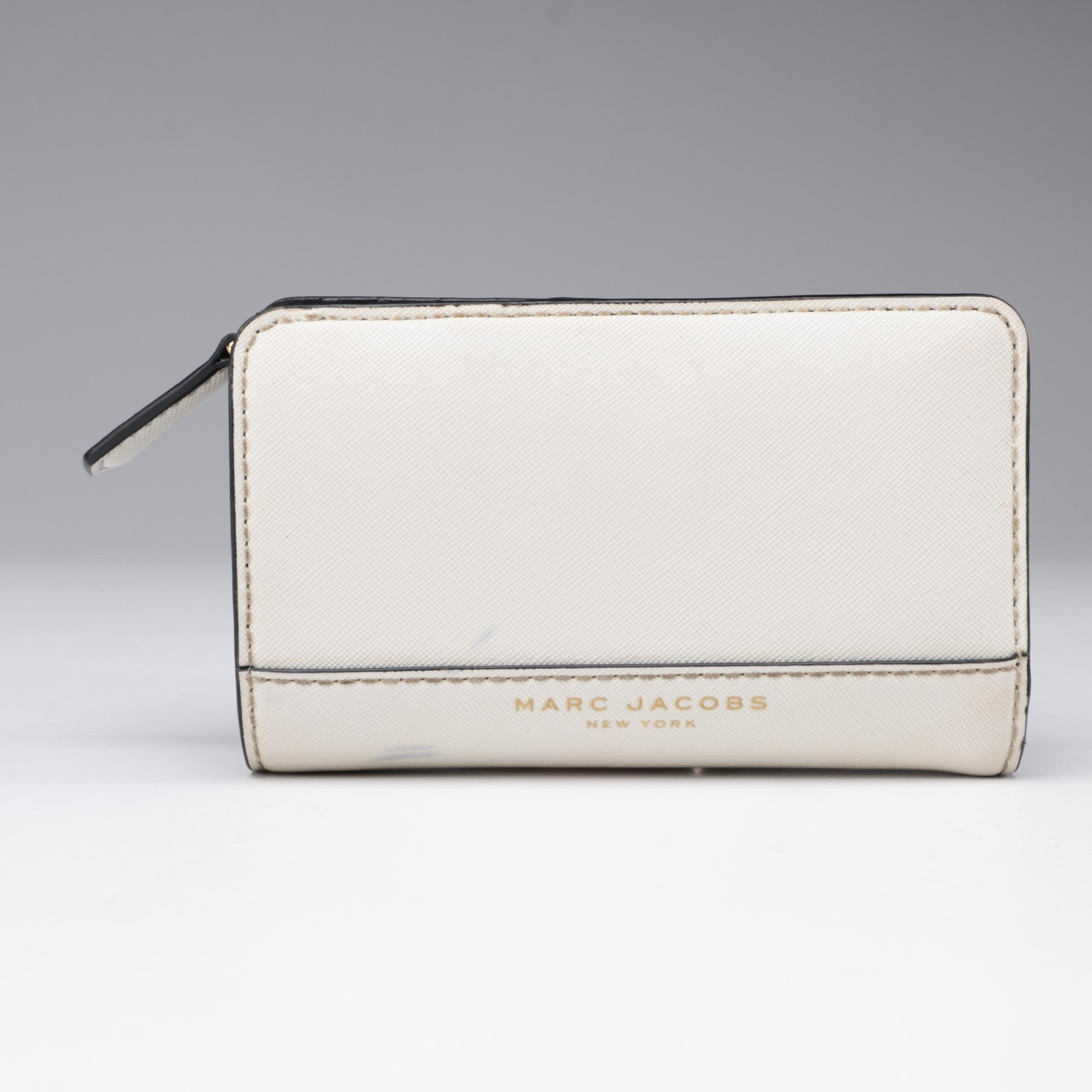 Marc Jacobs New York White Crosshatch and Black Leather Wallet