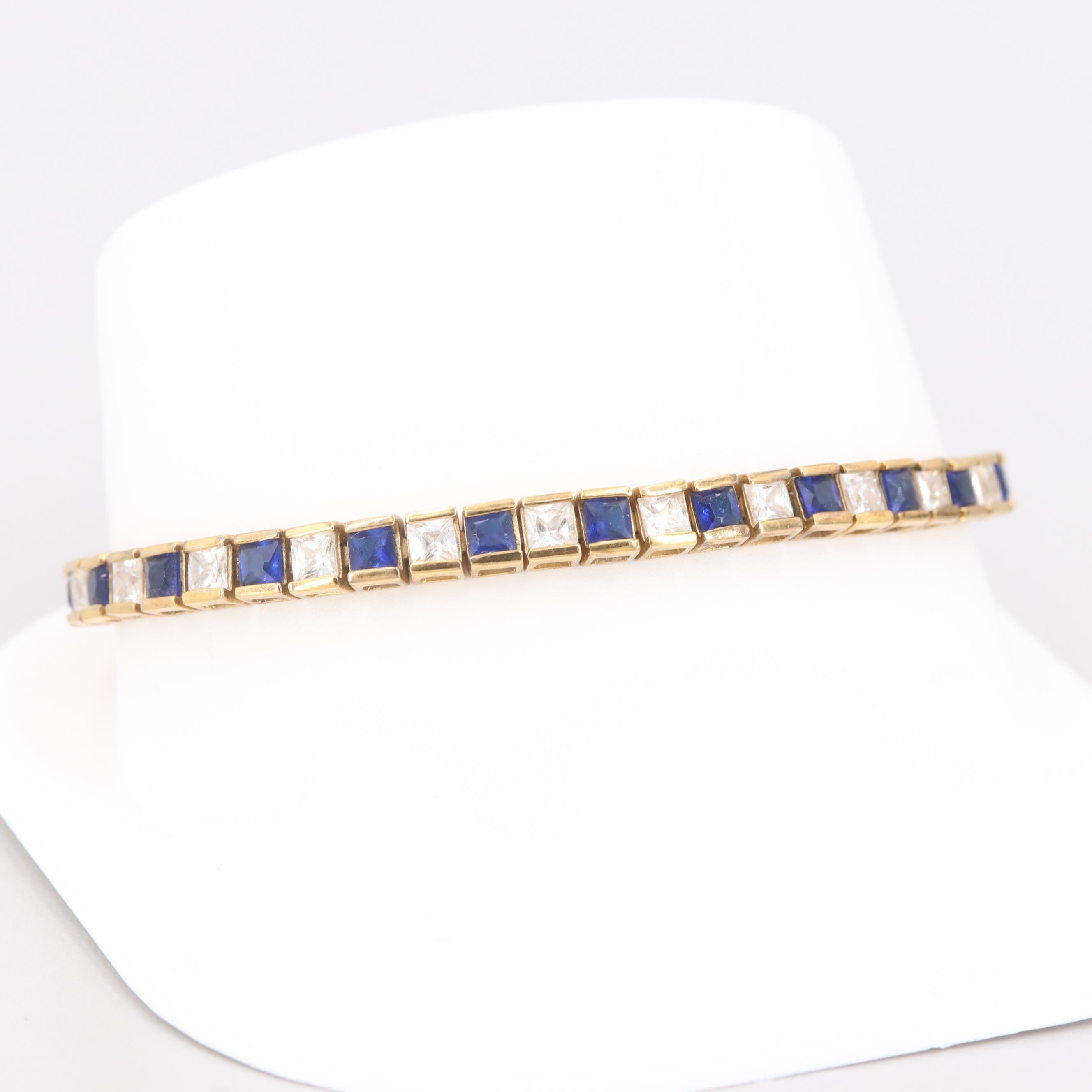 Gold Wash on Sterling Silver Cubic Zirconia Bracelet