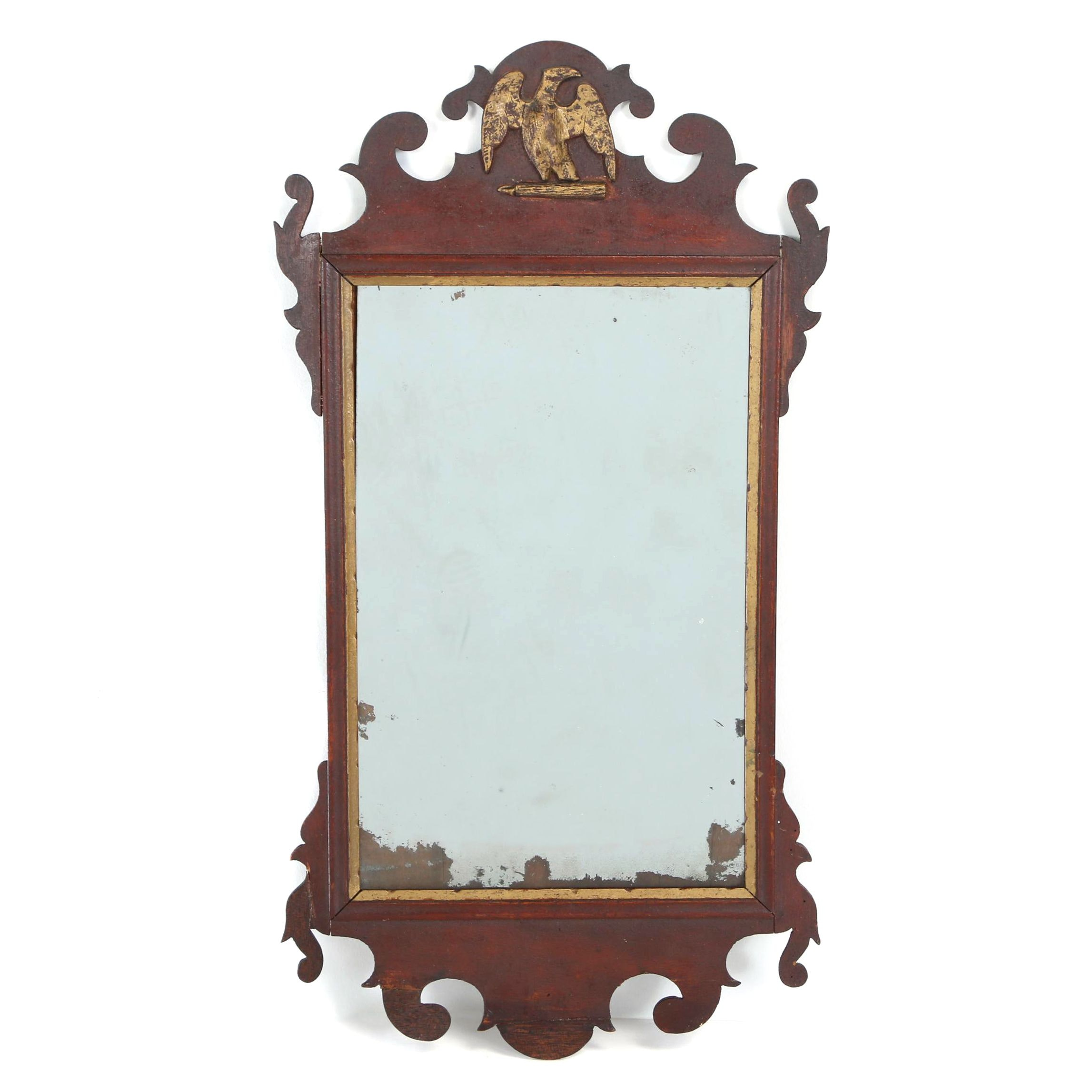 Chippendale Style Mahogany and Parcel-Gilt Mirror, 19th Century