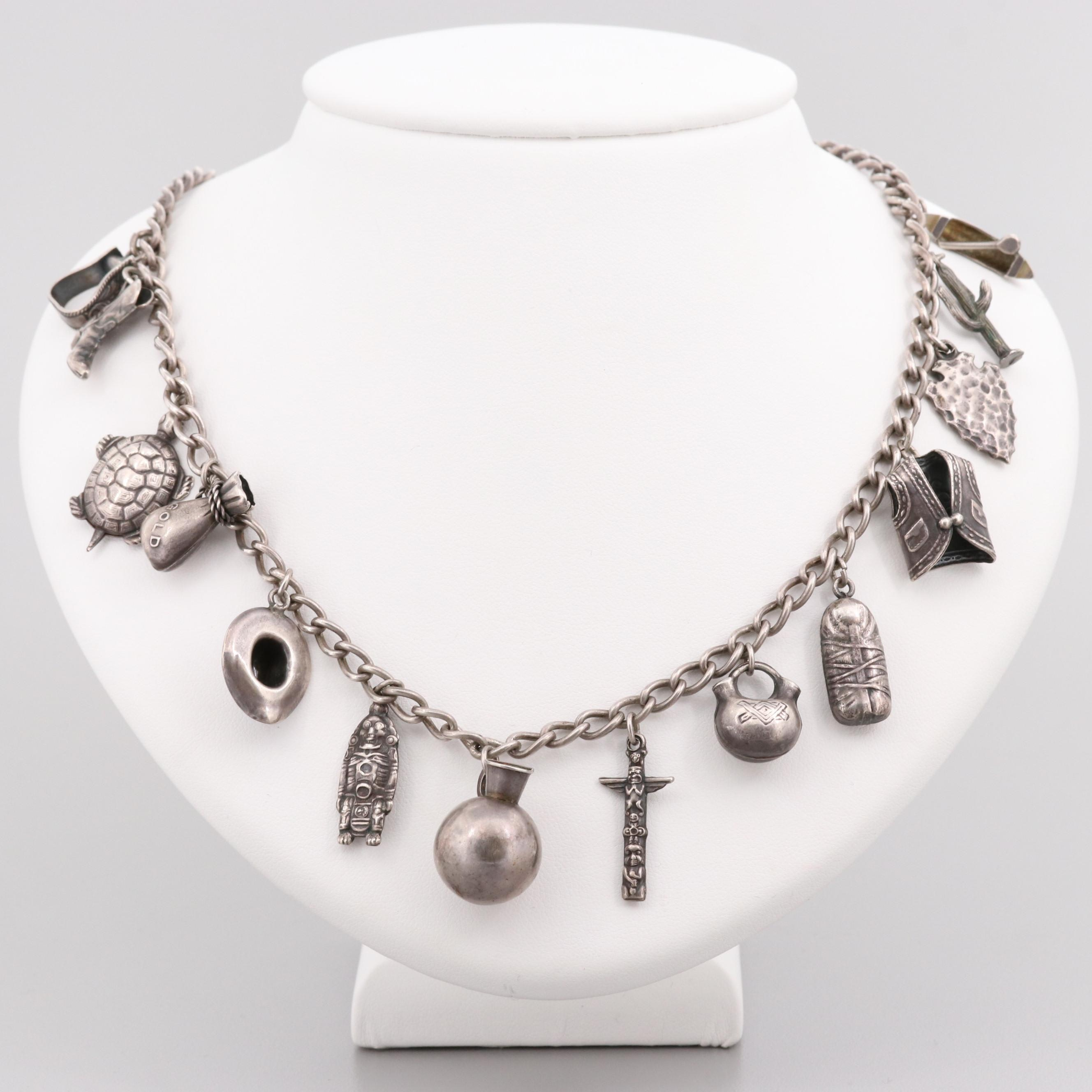 Southwestern Sterling Silver Necklace with Southwestern Charms