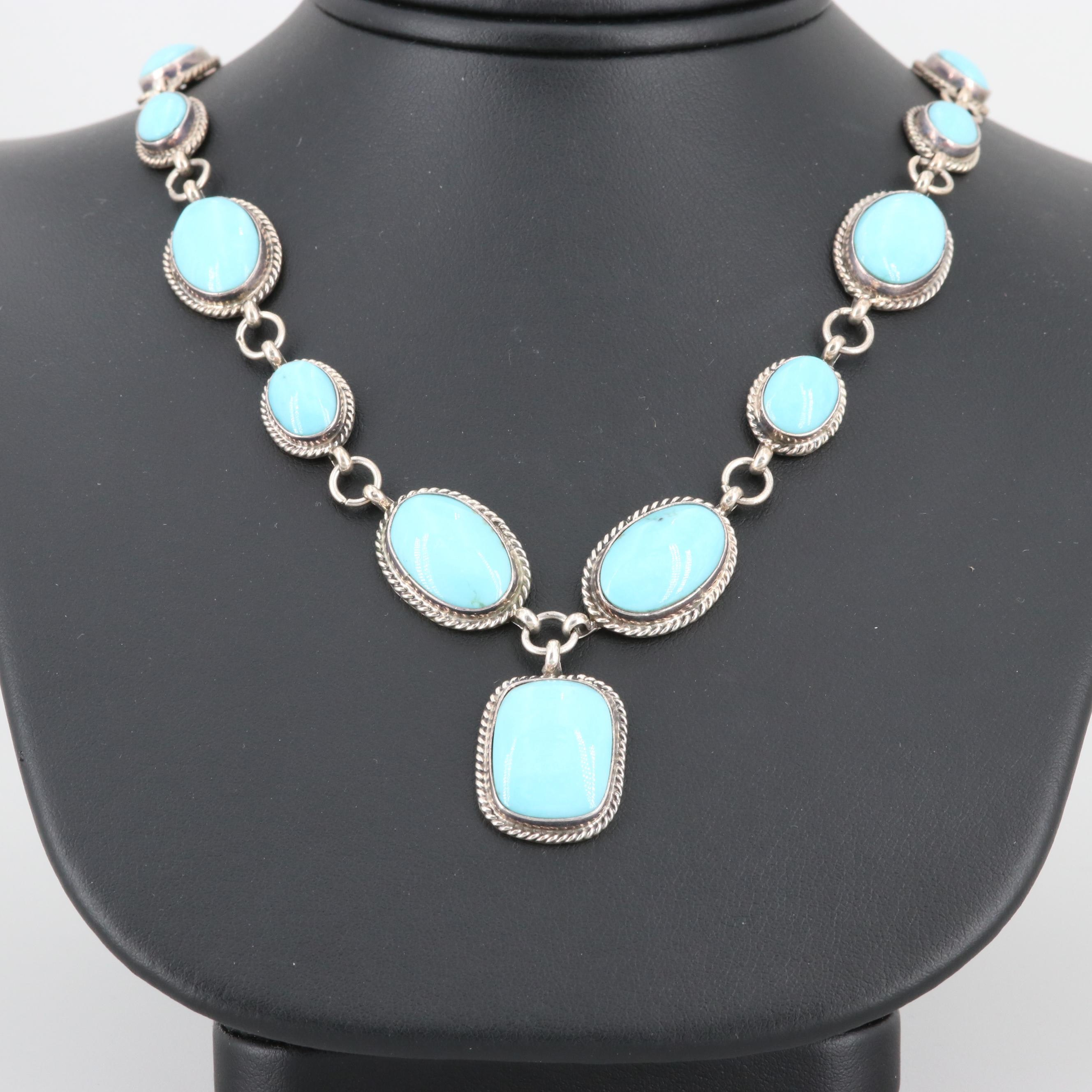 Running Bear Southwest Shop Sterling Silver Turquoise Necklace