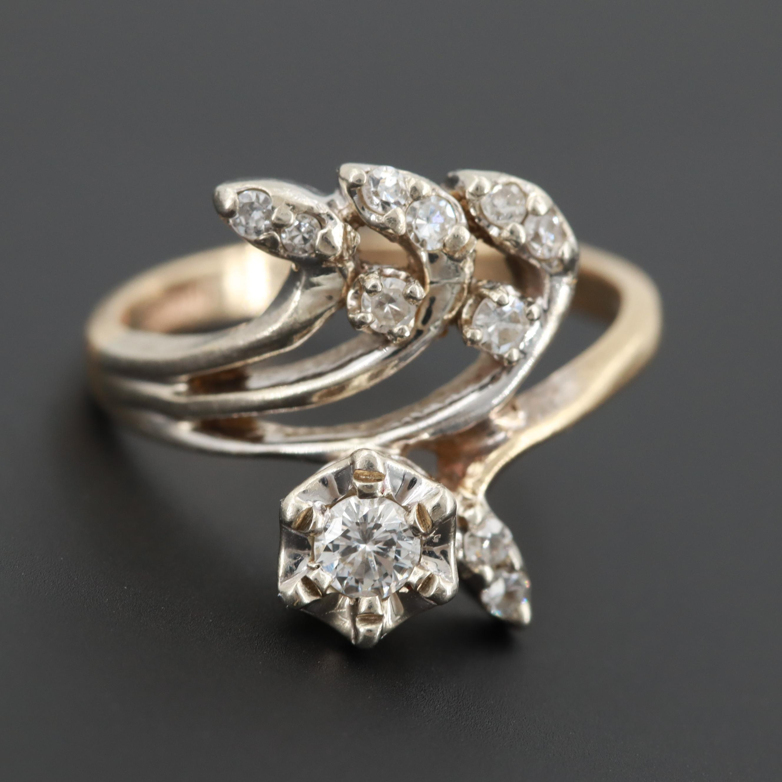 14K Yellow Gold Diamond Ring with 14K White Gold Setting