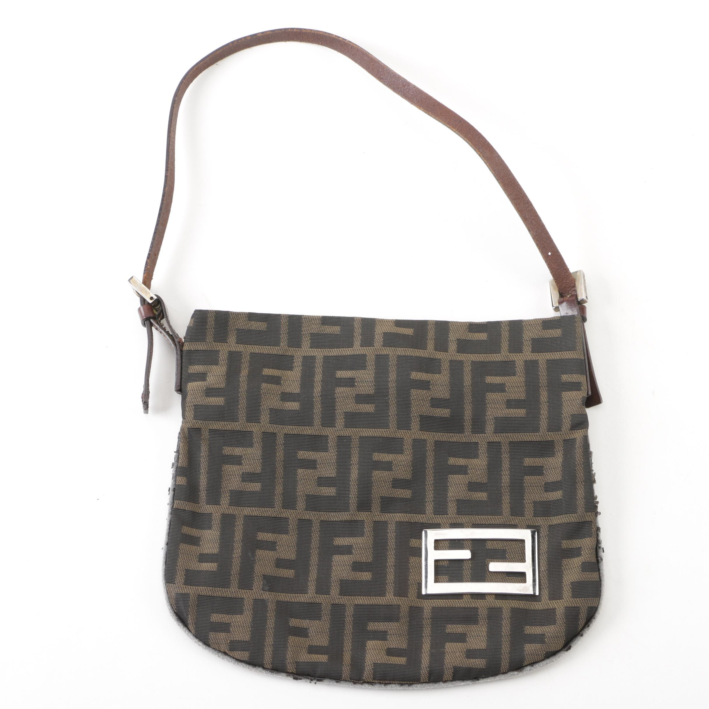 Fendi Zucca Monogram Canvas and Leather Handbag, Made in Italy
