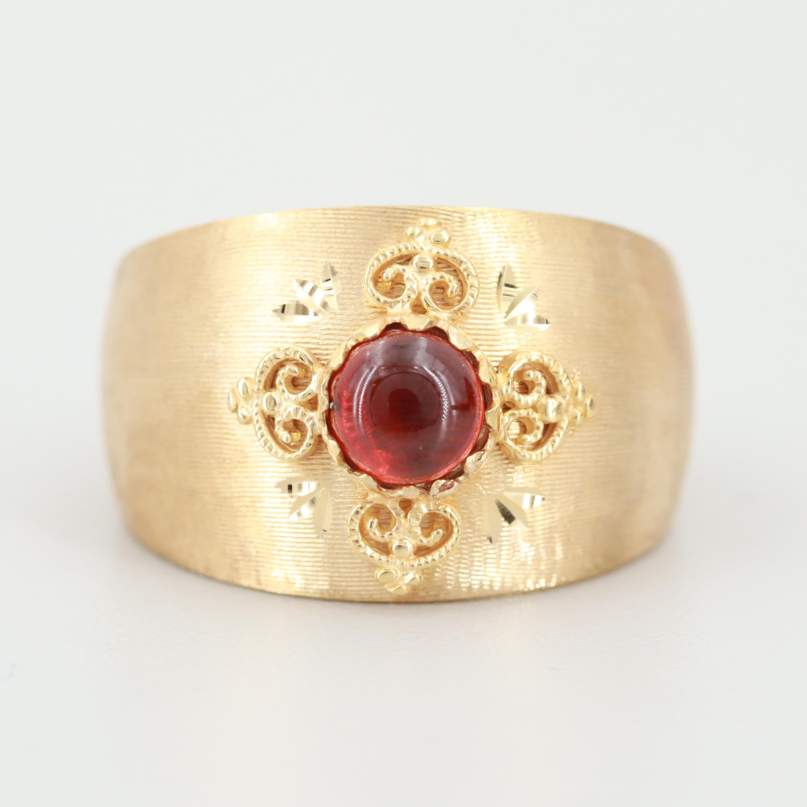 Italian 14K Yellow Gold Garnet Ring with Textured Accents