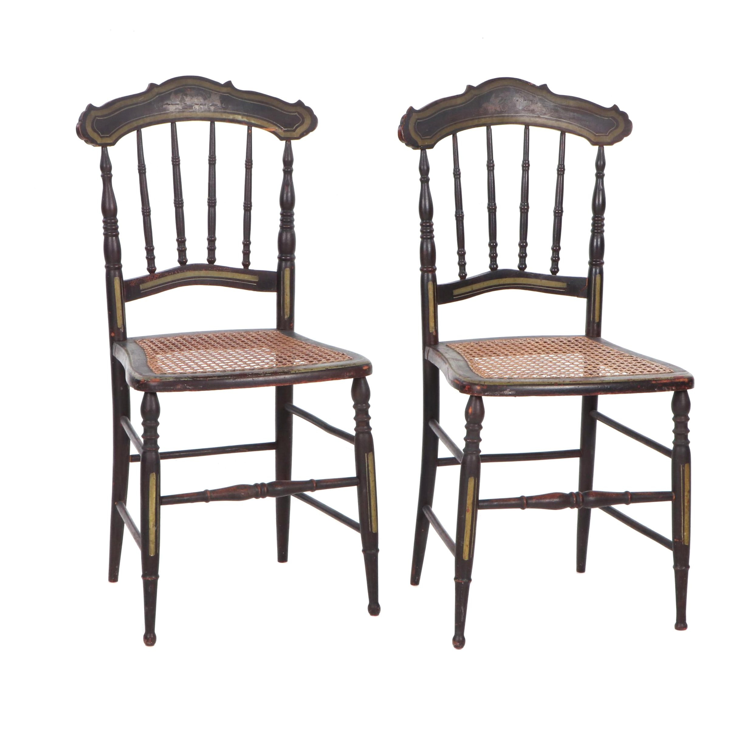 Hitchcock Style Stenciled Wood and Caned Side Chairs, Late 19th/Early 20th C.