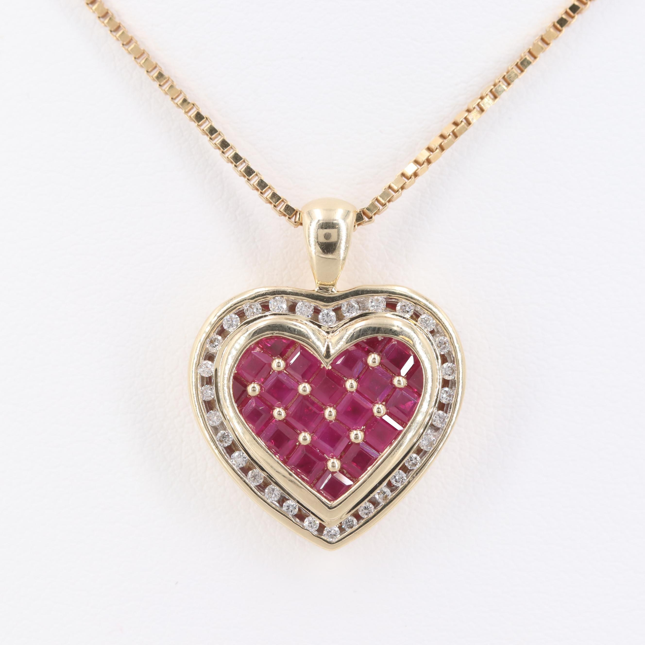 14K Yellow Gold Ruby and Diamond Heart Pendant Necklace
