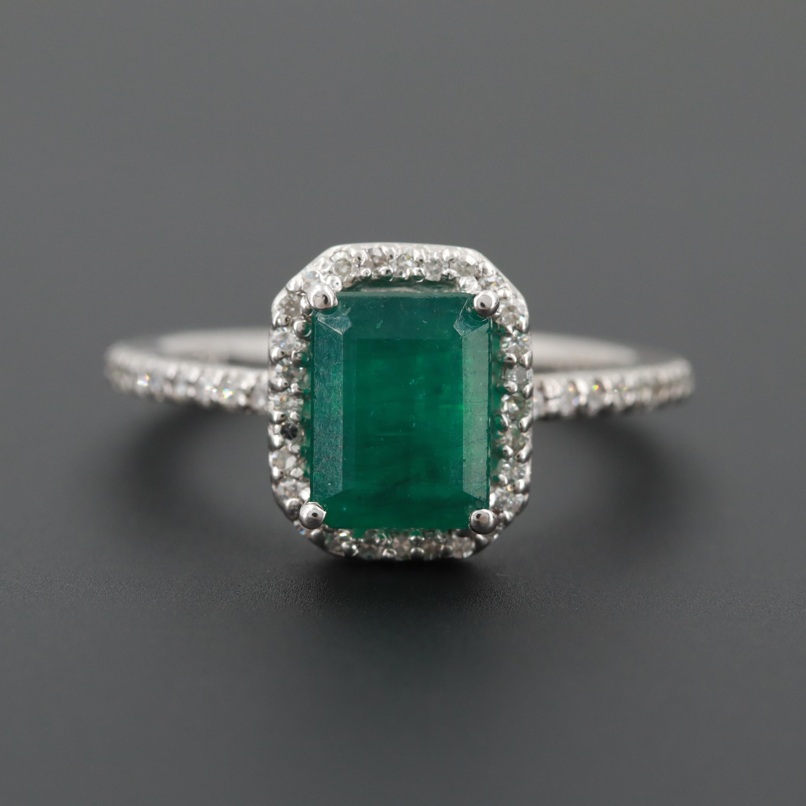 14K White Gold 1.40 CT Emerald and Diamond Ring