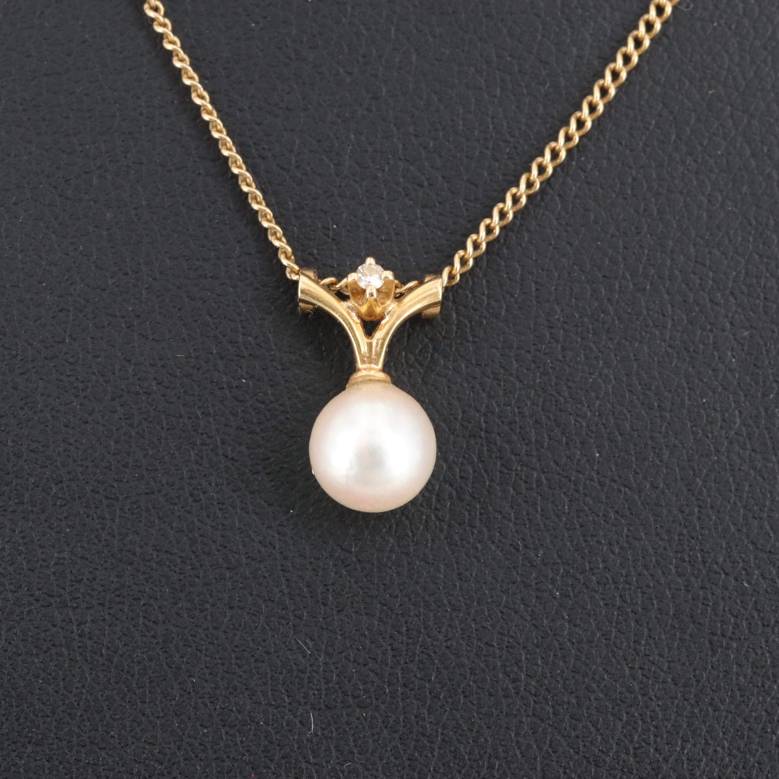 14K and 18K Yellow Gold Cultured Pearl and Diamond Necklace