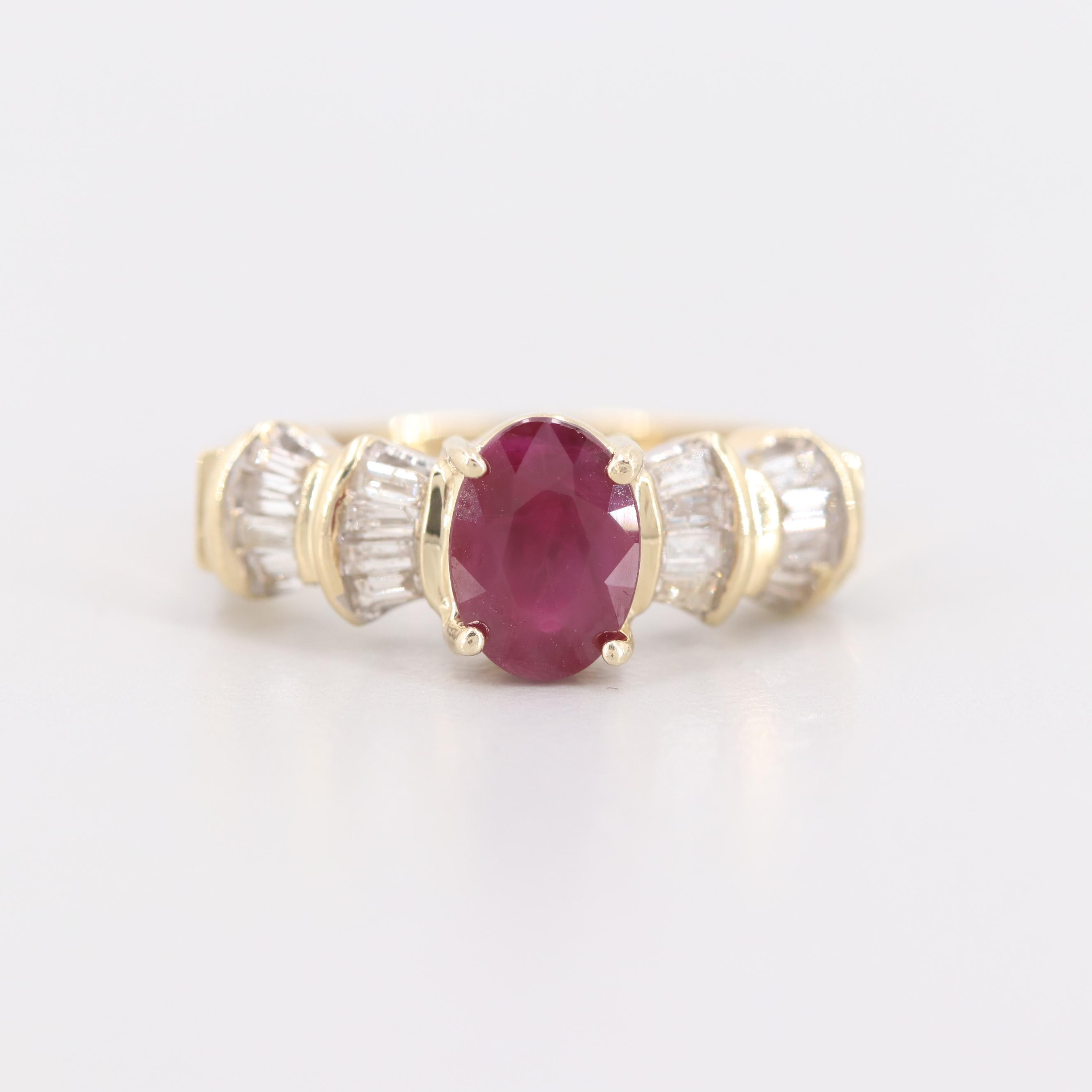 14K Yellow Gold 1.58 CT Ruby and Diamond Ring